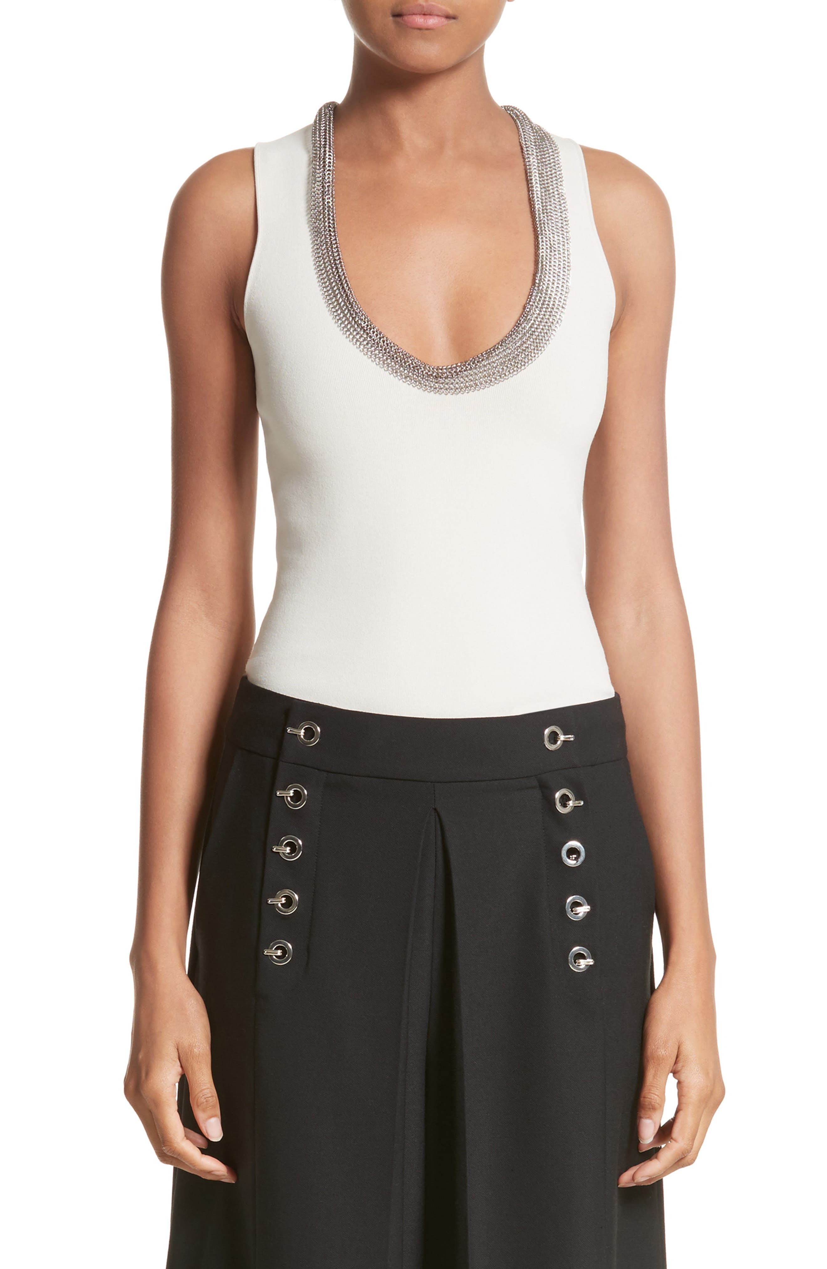 Alternate Image 1 Selected - Alexander Wang Chain Mail Trim Tank