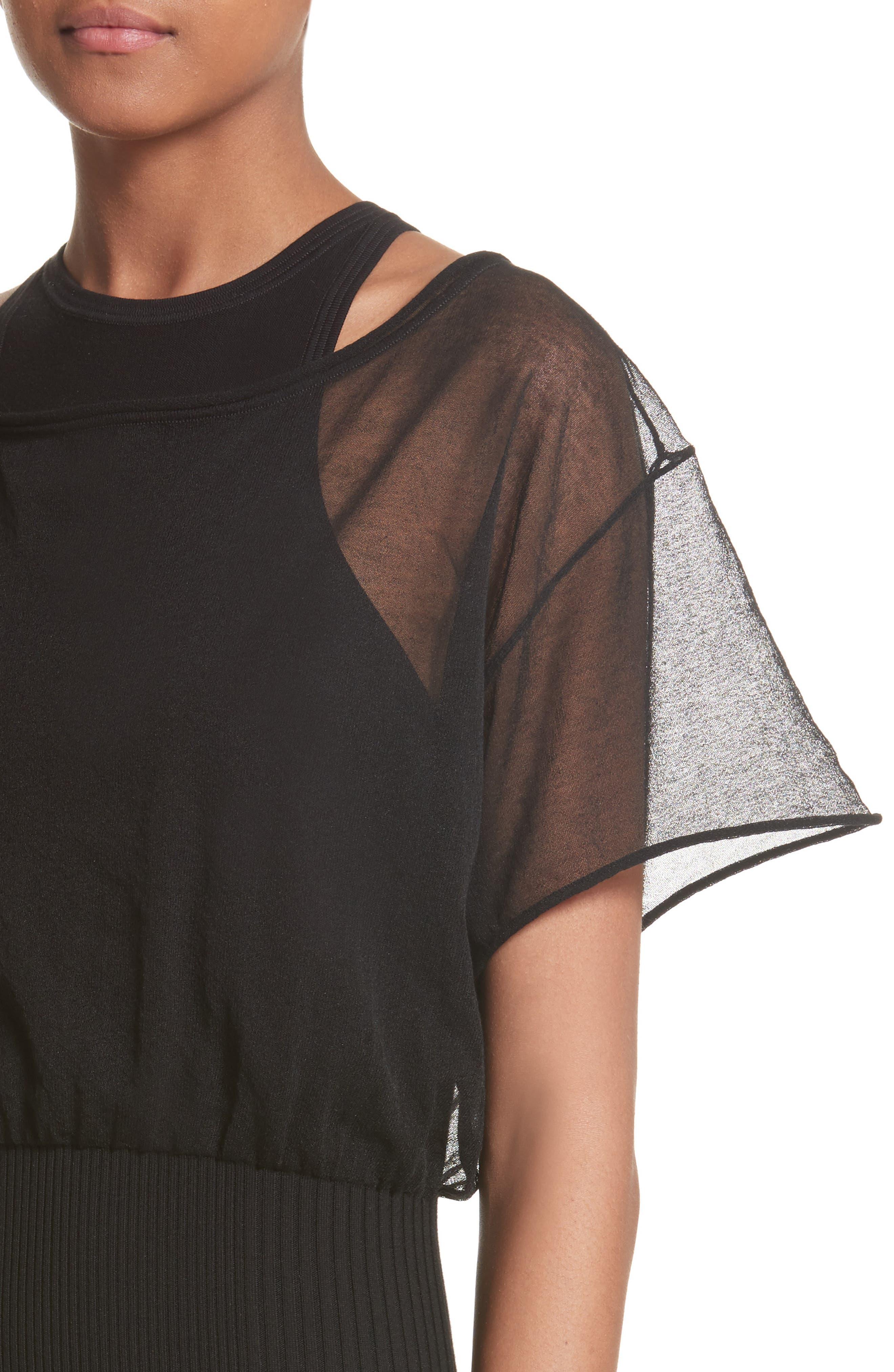 Sheer Popover Knit Dress,                             Alternate thumbnail 4, color,                             Black