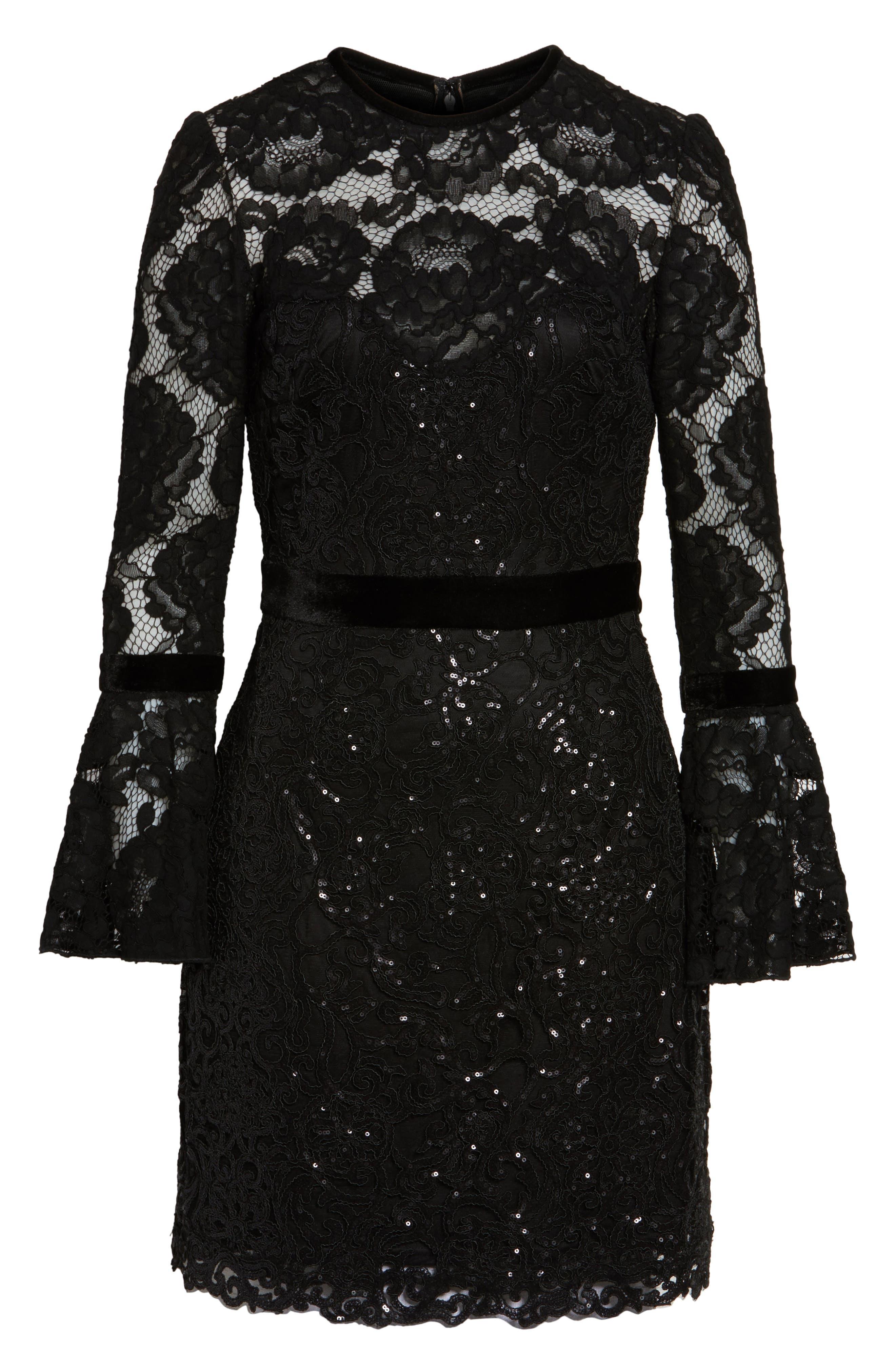 Alternate Image 6  - Tadashi Shoji Bell Sleeve Rose & Sequin Lace Dress