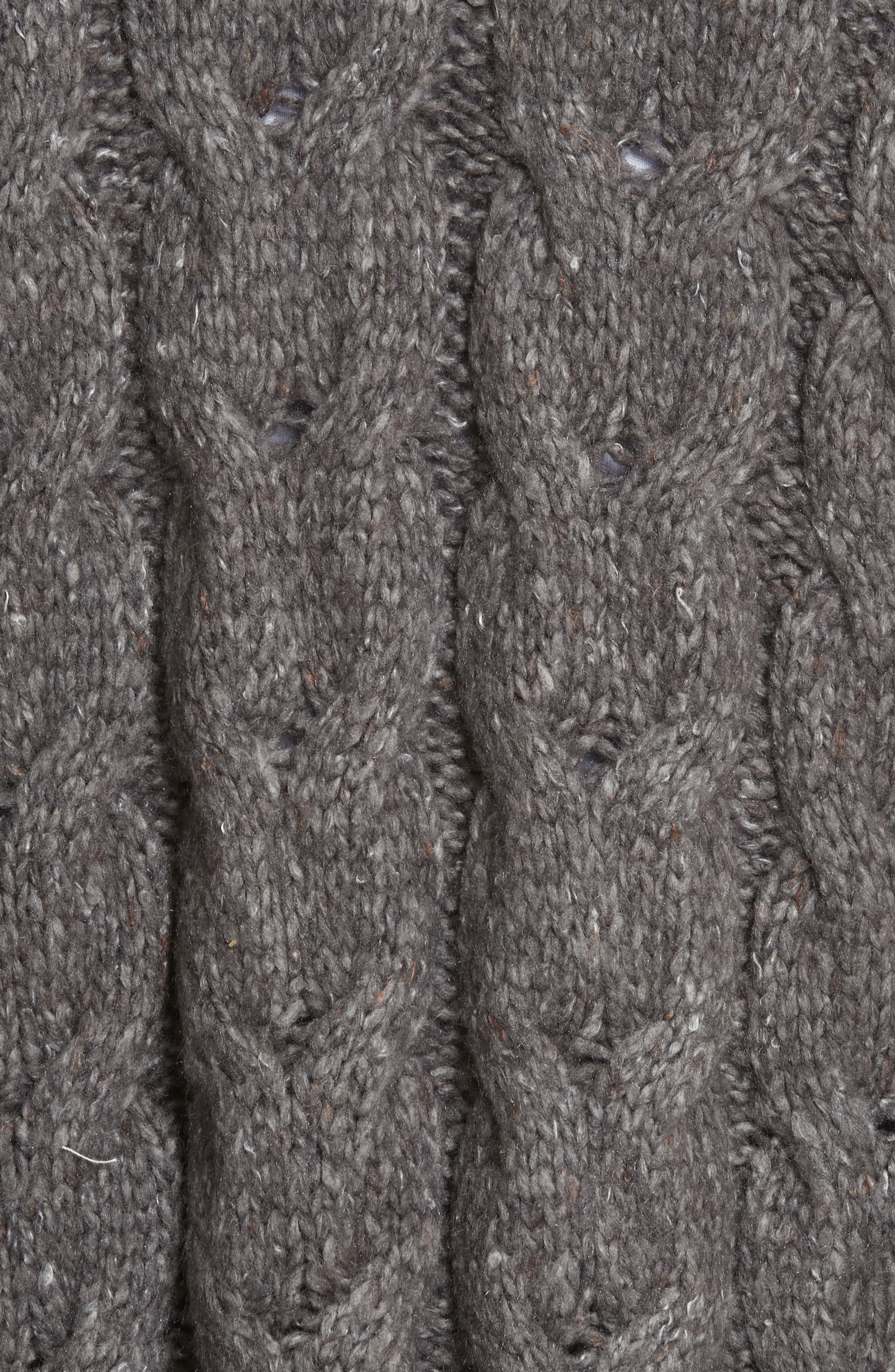 Tienna Cable-Knit Cardigan,                             Alternate thumbnail 5, color,                             Dark Heather Grey