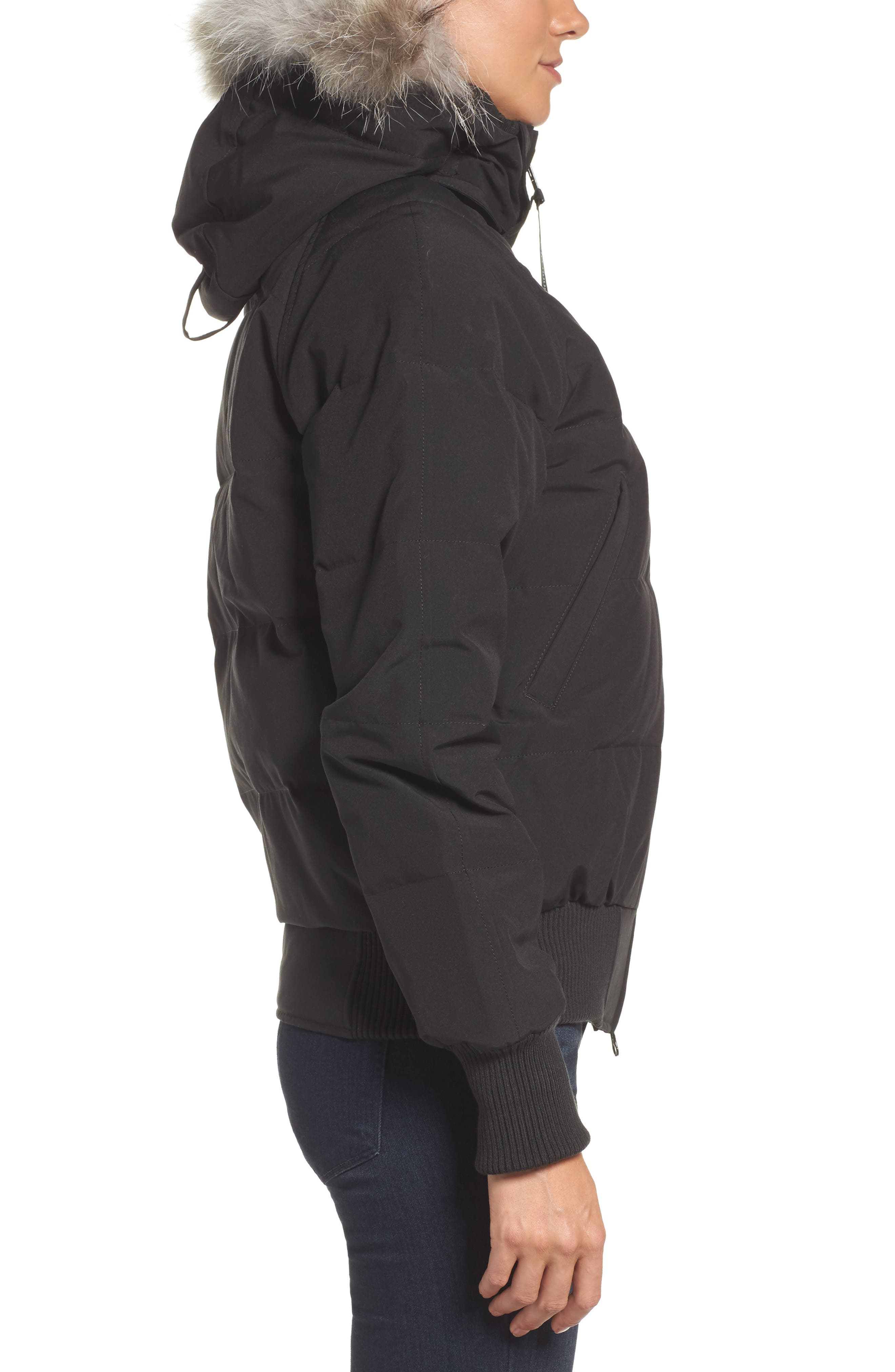 'Savona' Bomber Jacket with Genuine Coyote Fur Trim,                             Alternate thumbnail 3, color,                             Black