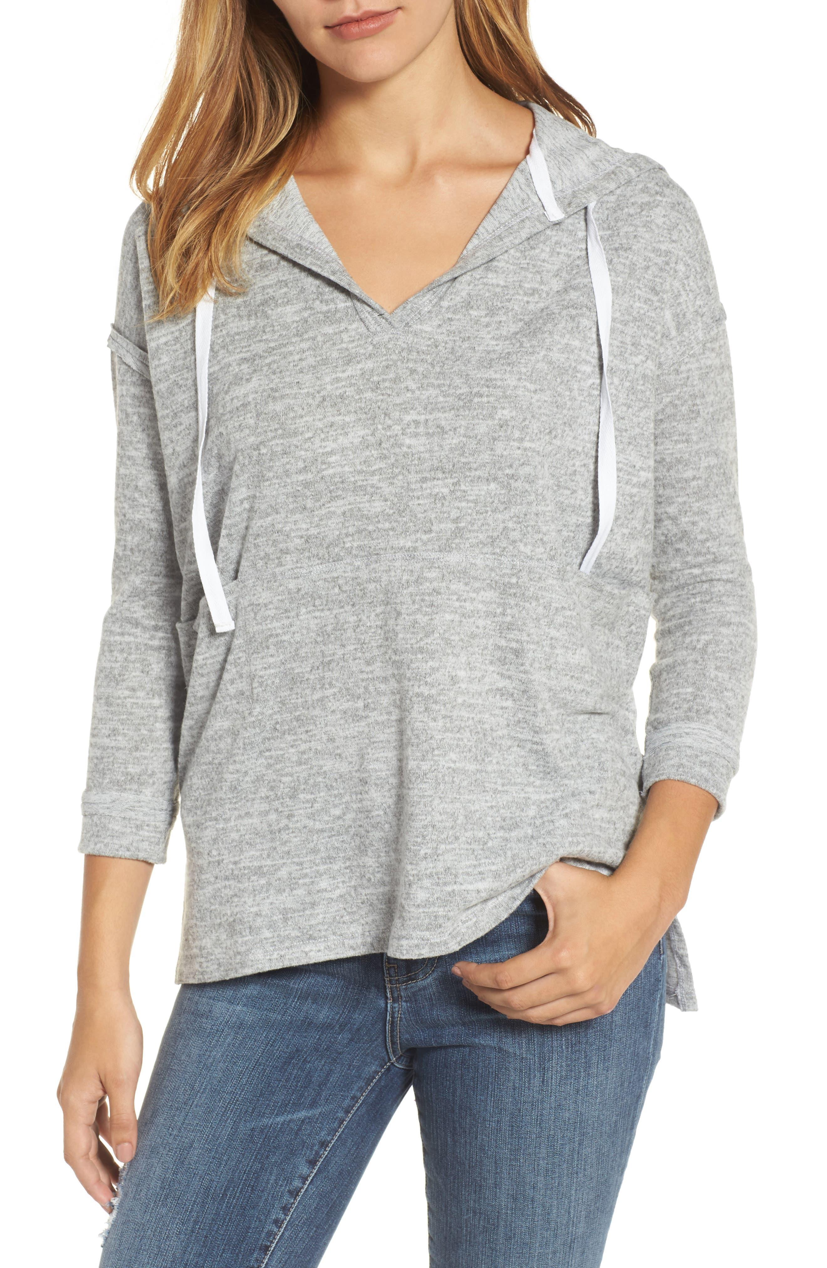 Front Pocket Knit Hoodie,                             Main thumbnail 1, color,                             Light Grey