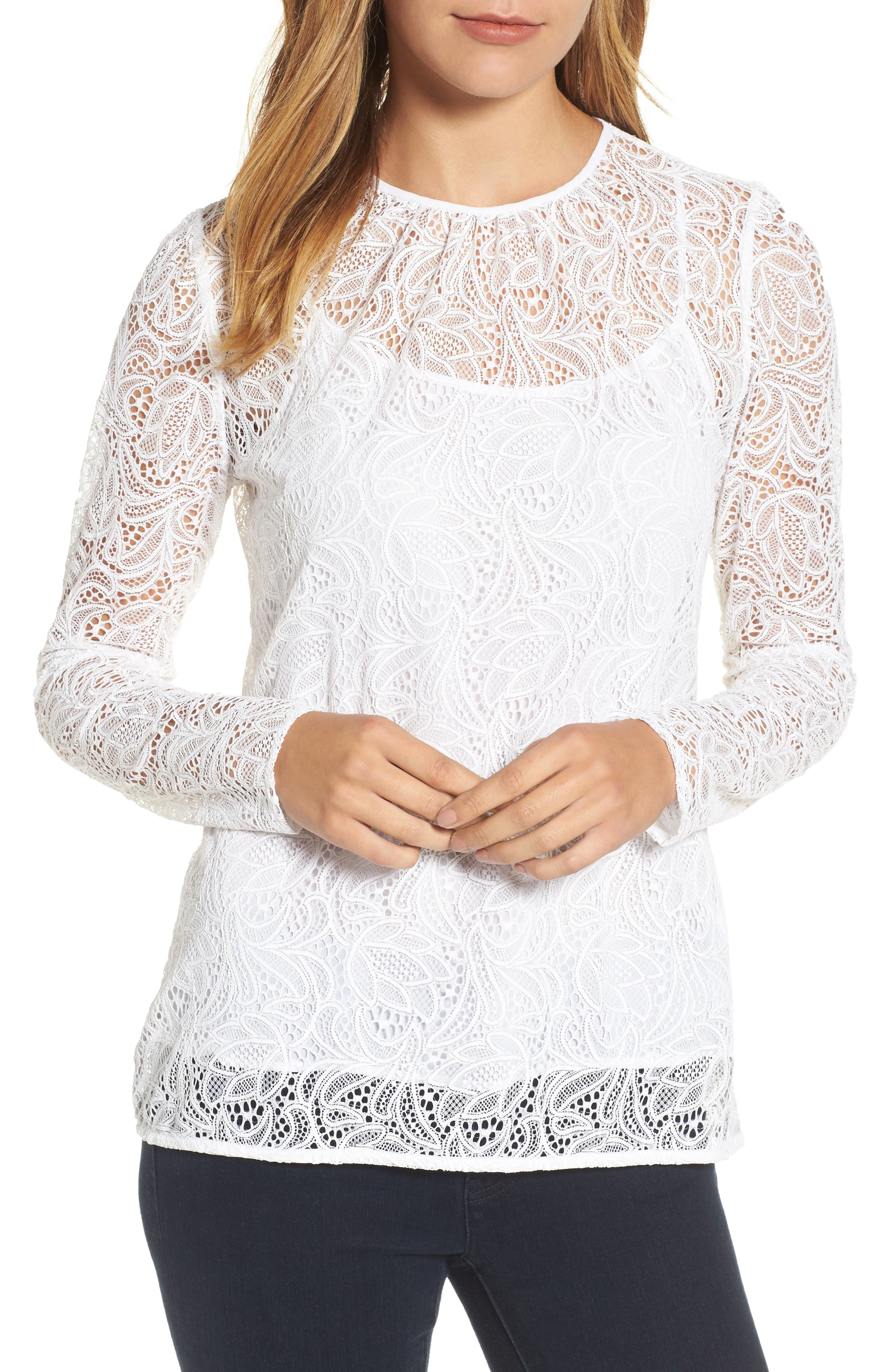 MICHAEL Michael Kors Stretch Lace Overlay Tee