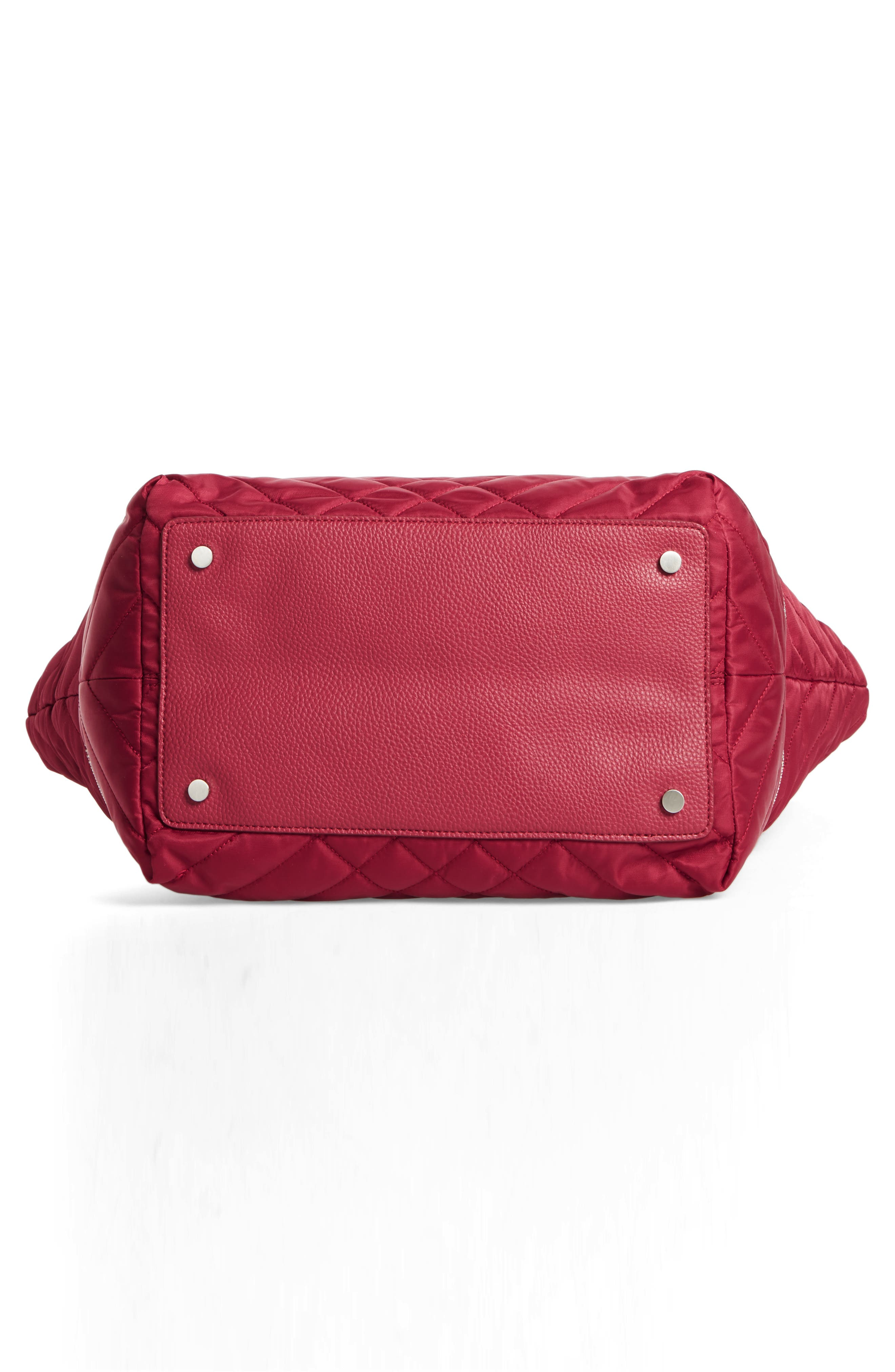 Arianna Quilted Nylon Tote,                             Alternate thumbnail 5, color,                             Cranberry