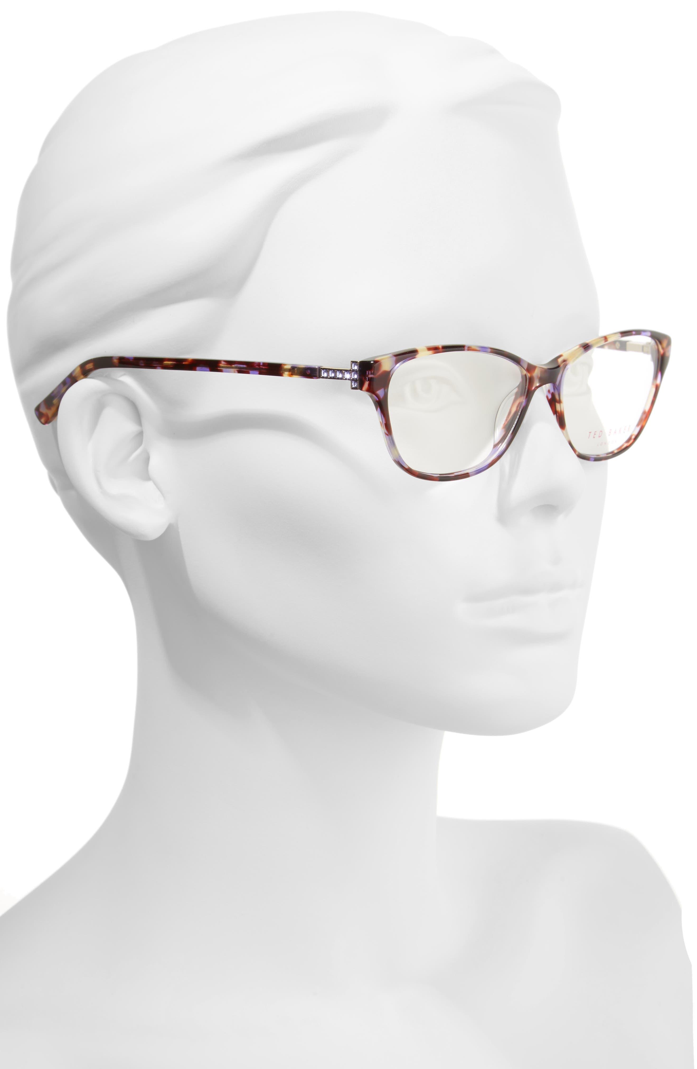 53mm Optical Cat Eye Glasses,                             Alternate thumbnail 2, color,                             Purple