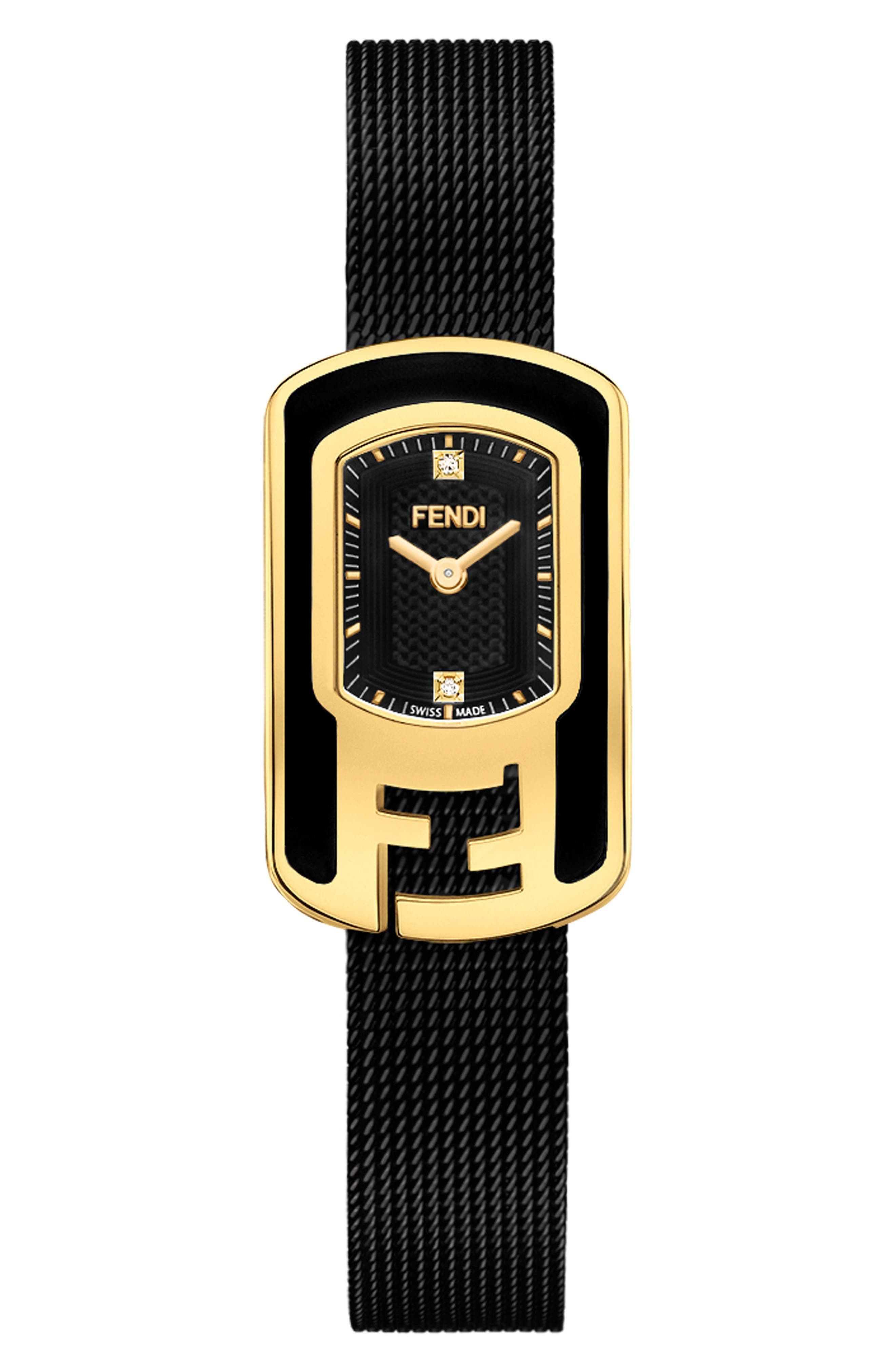 Fendi Chameleon Diamond Mesh Strap Watch, 18mm