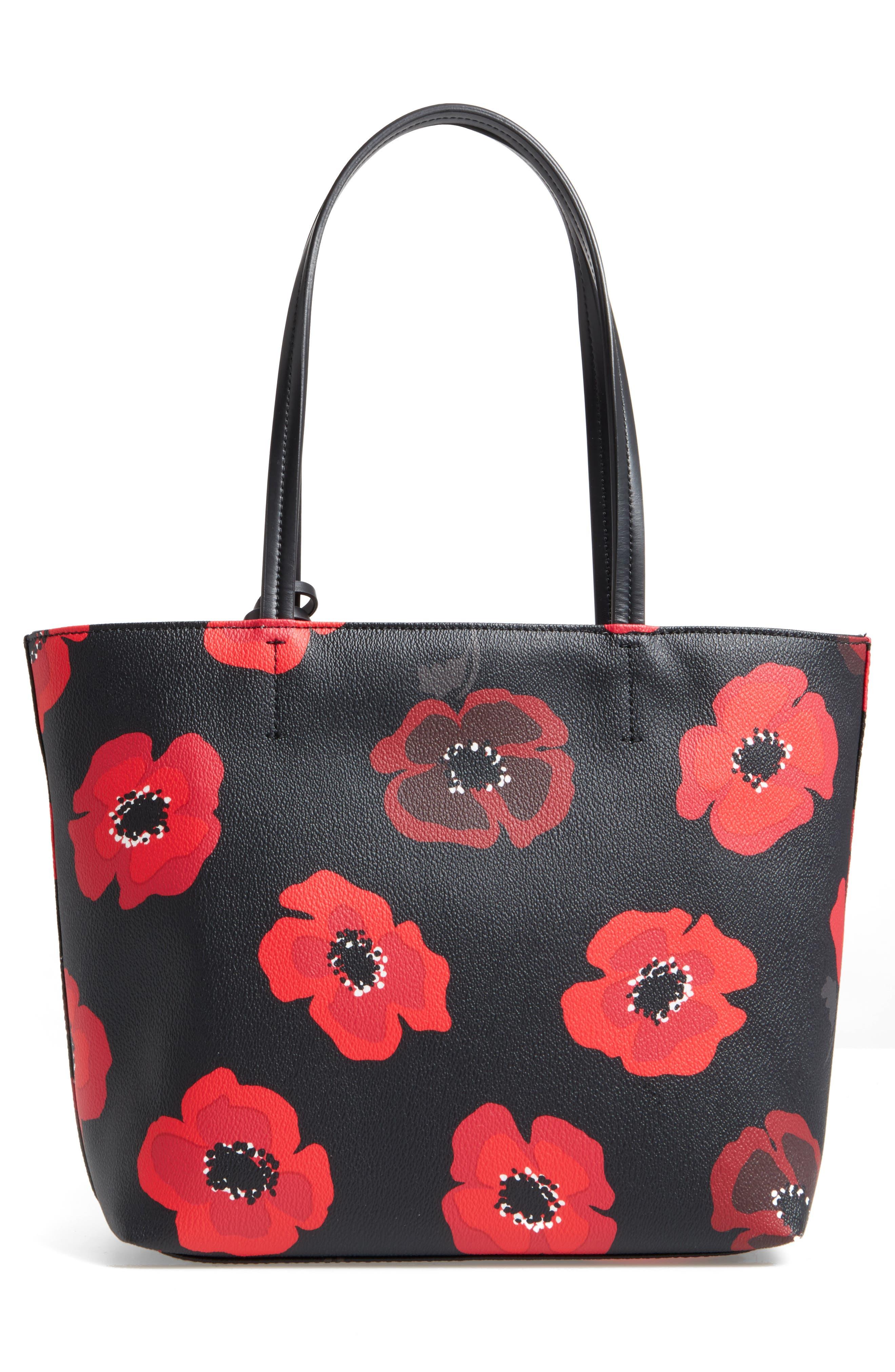 hyde lane poppies - small riley tote,                             Alternate thumbnail 2, color,                             Black Multi