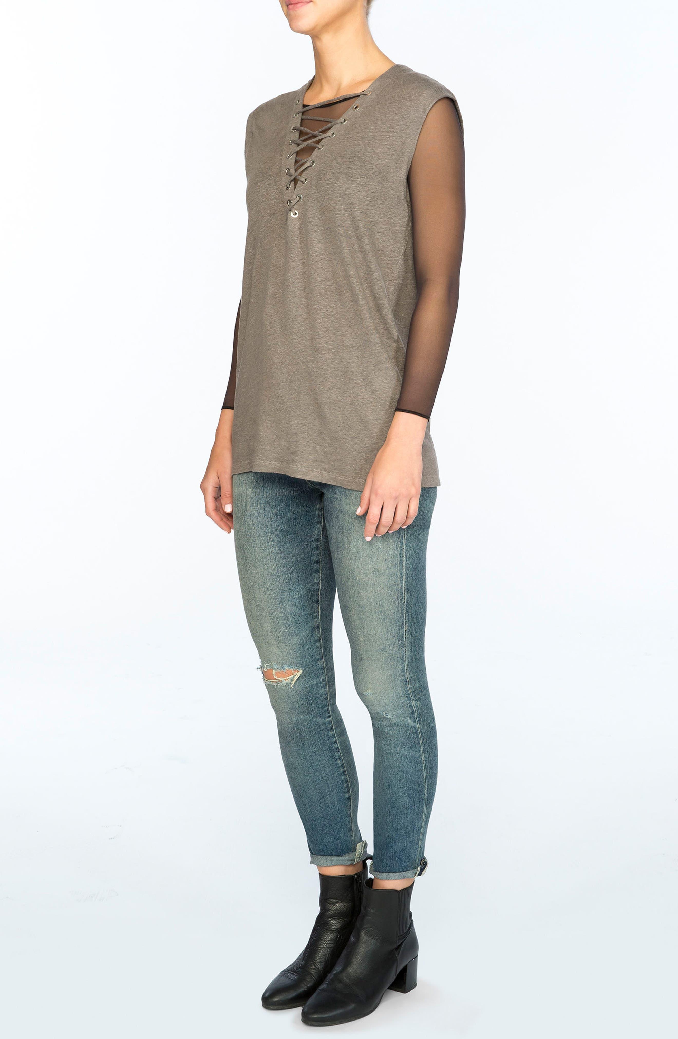 Alternate Image 6  - SPANX® Long Sleeve Mesh Bodysuit