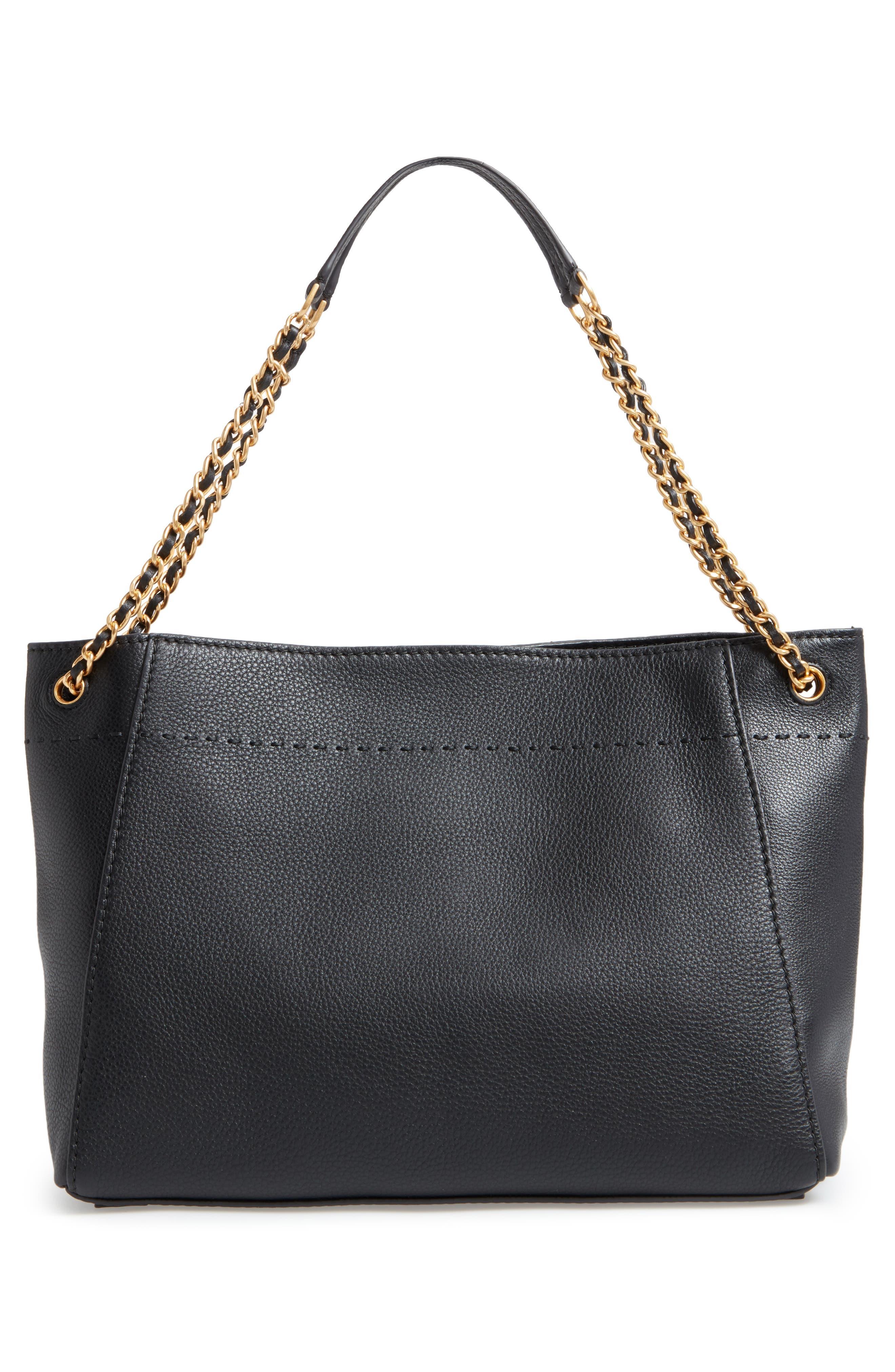 McGraw Slouchy Leather Shoulder Bag,                             Alternate thumbnail 3, color,                             Black