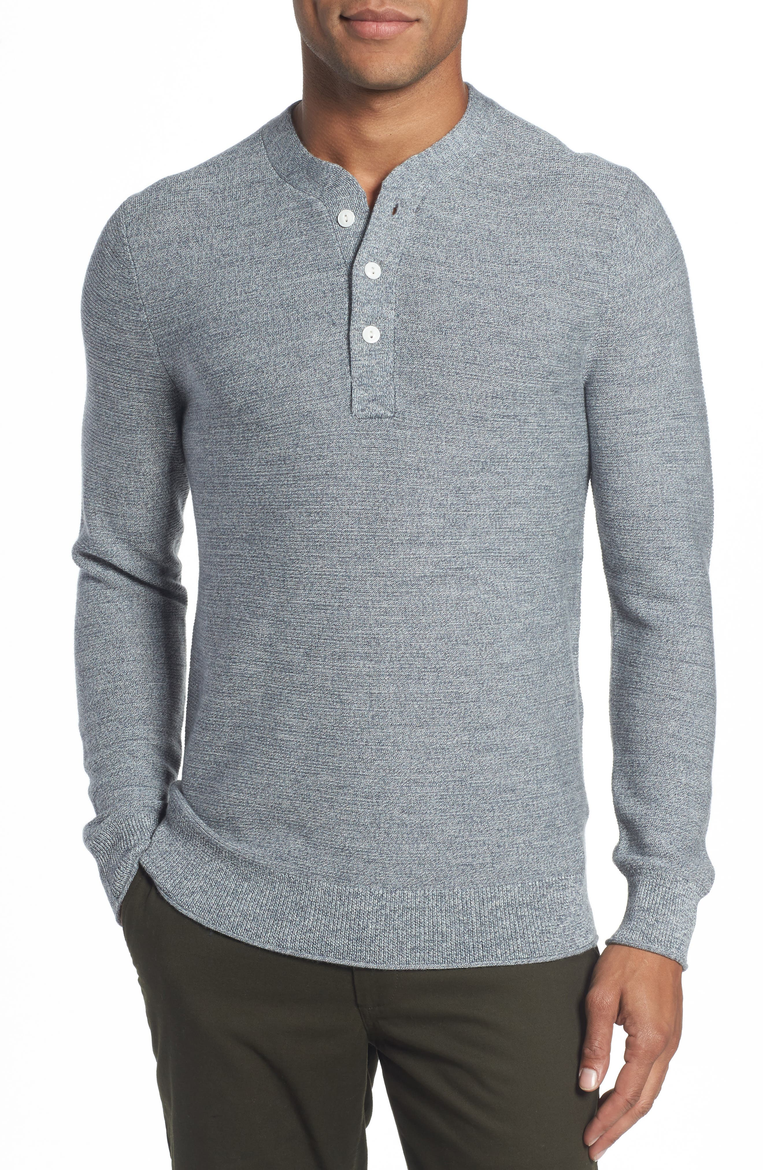 Merino Wool Knit Henley,                         Main,                         color, Heather Grey