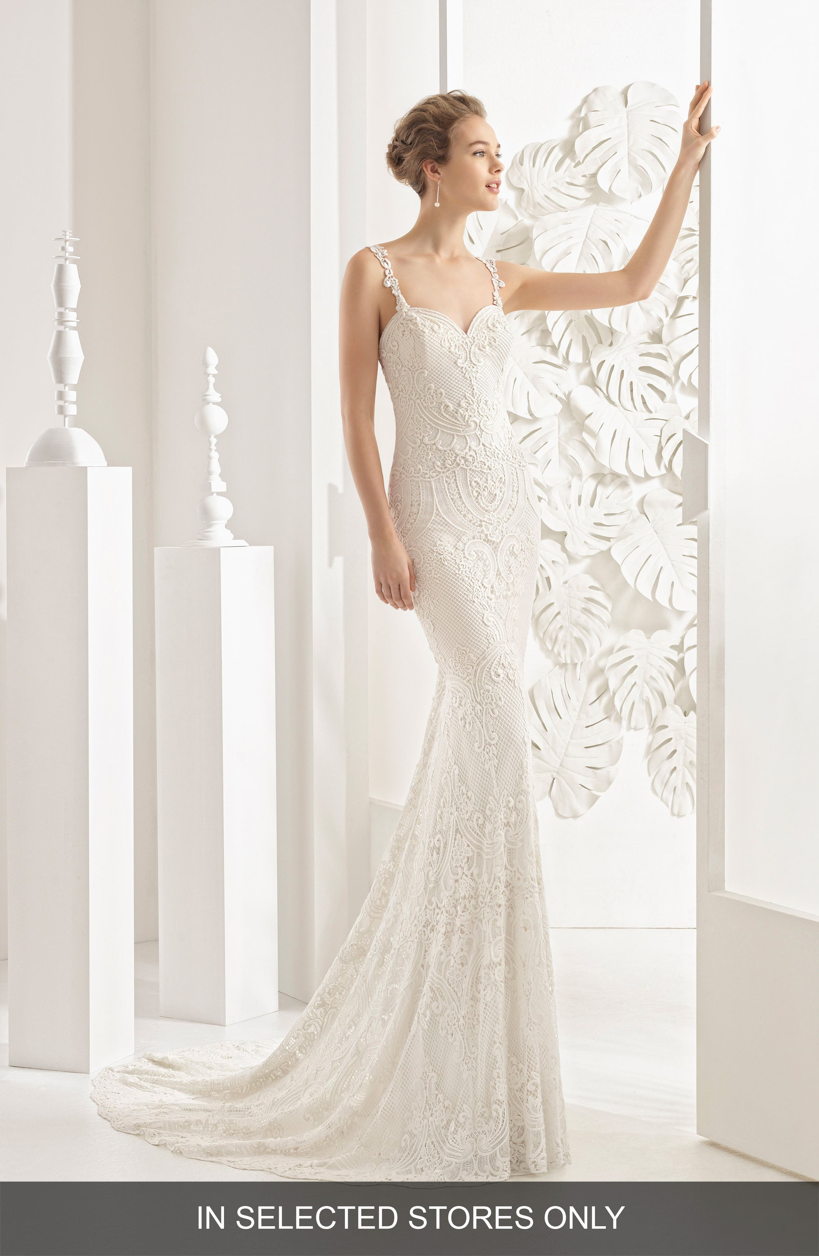 Nancy Guipure Lace Gown,                         Main,                         color, Ivory