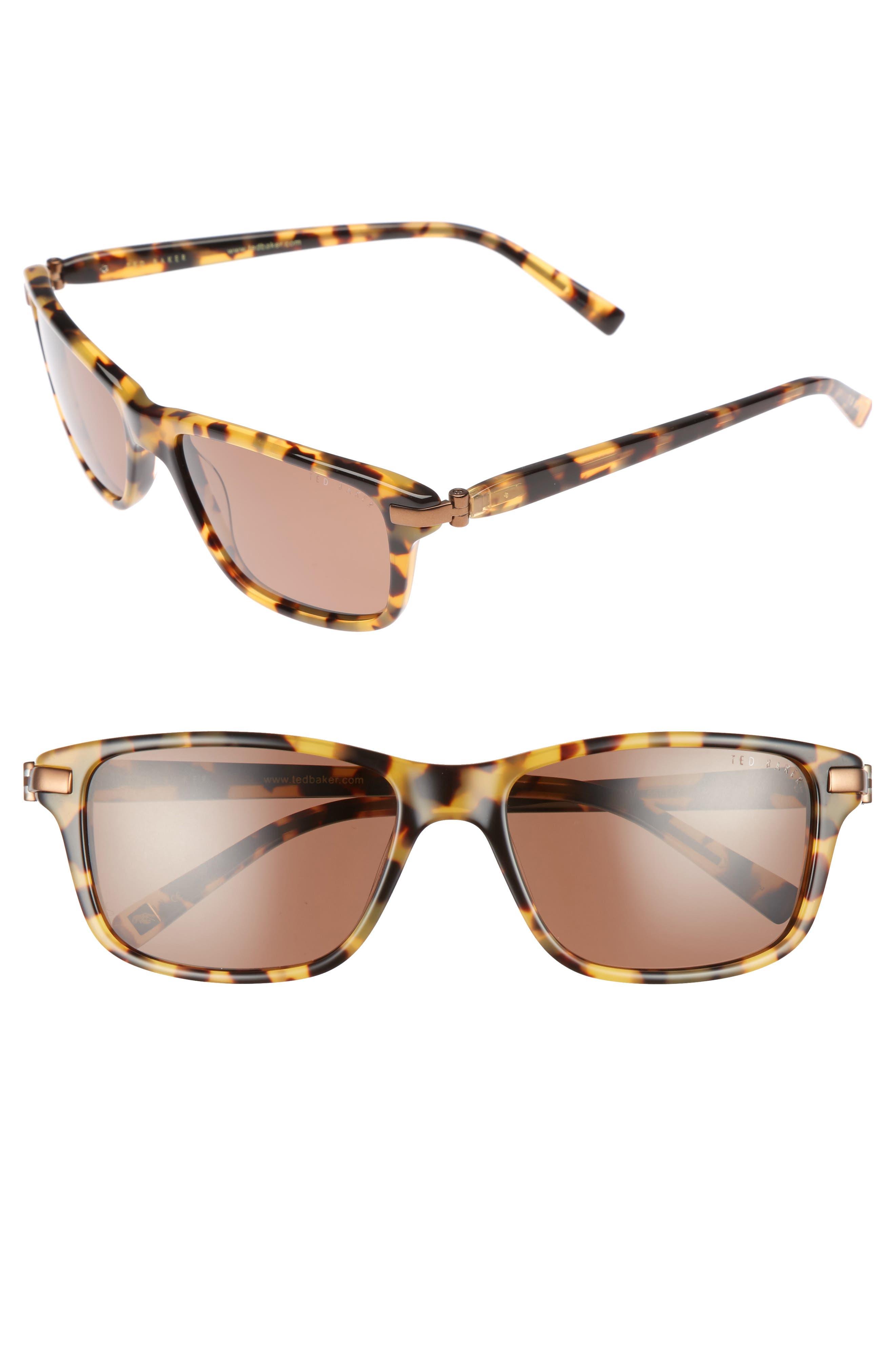 55mm Polarized Sunglasses,                             Main thumbnail 1, color,                             Havana