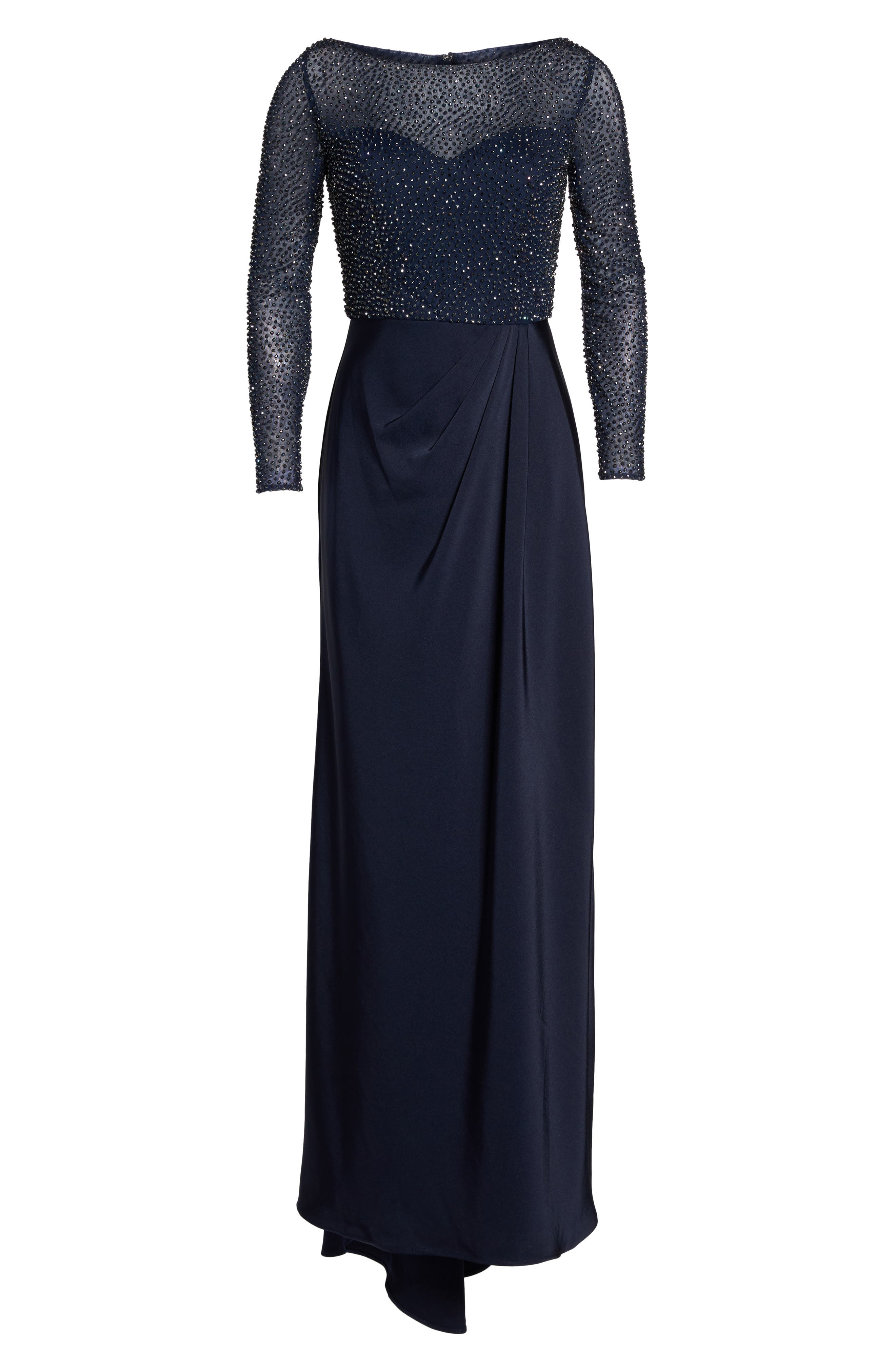 Bead Embellished Gown,                             Alternate thumbnail 6, color,                             Navy