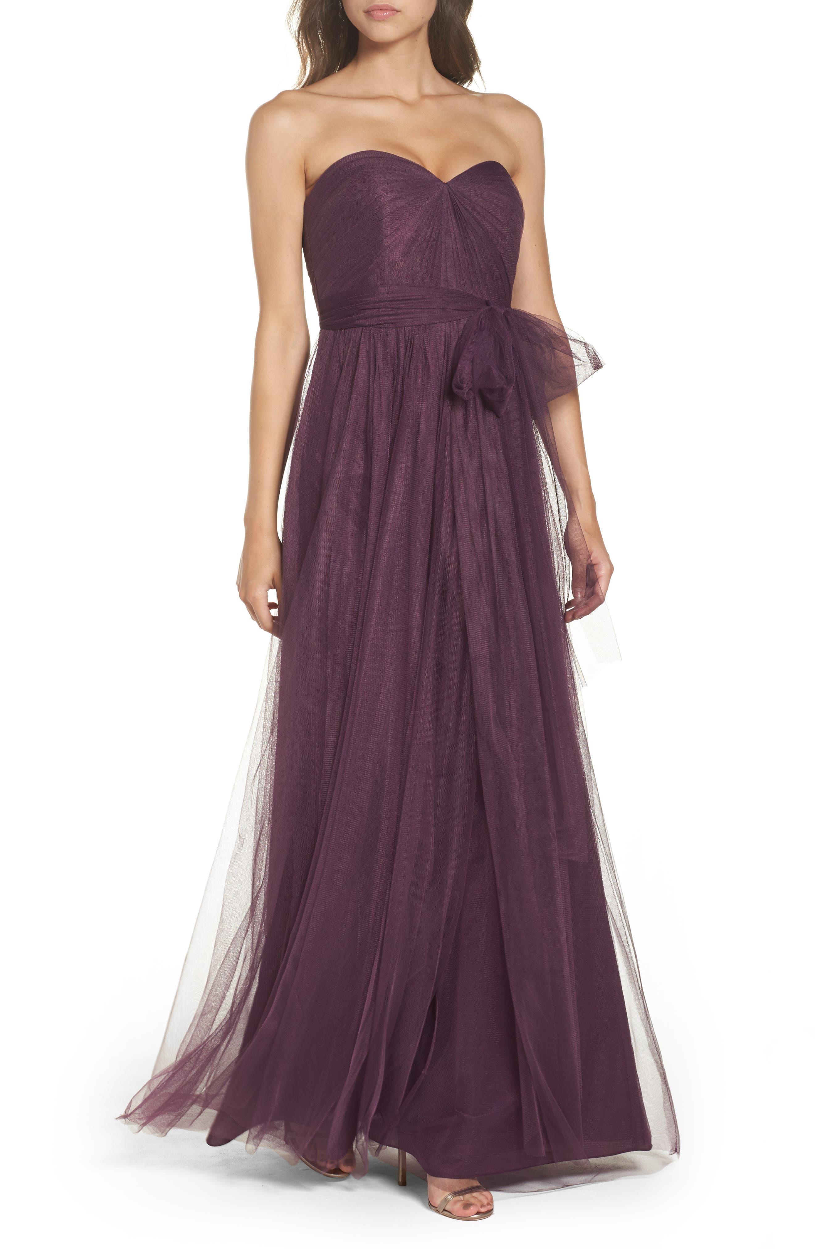 Annabelle Convertible Tulle Column Dress,                         Main,                         color, Raisin