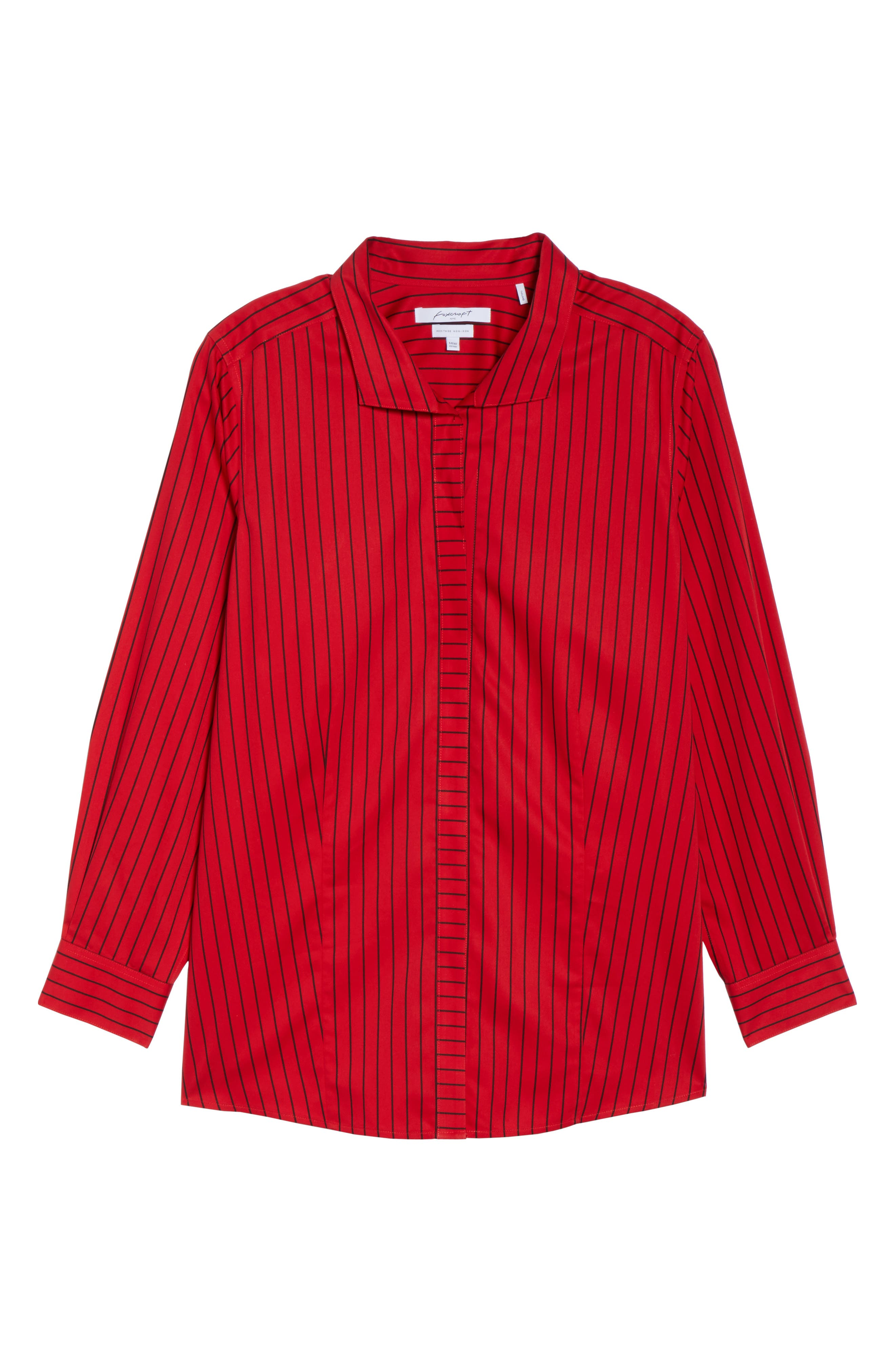 Alternate Image 6  - Foxcroft Annie Holiday Stripe Shirt (Plus Size)