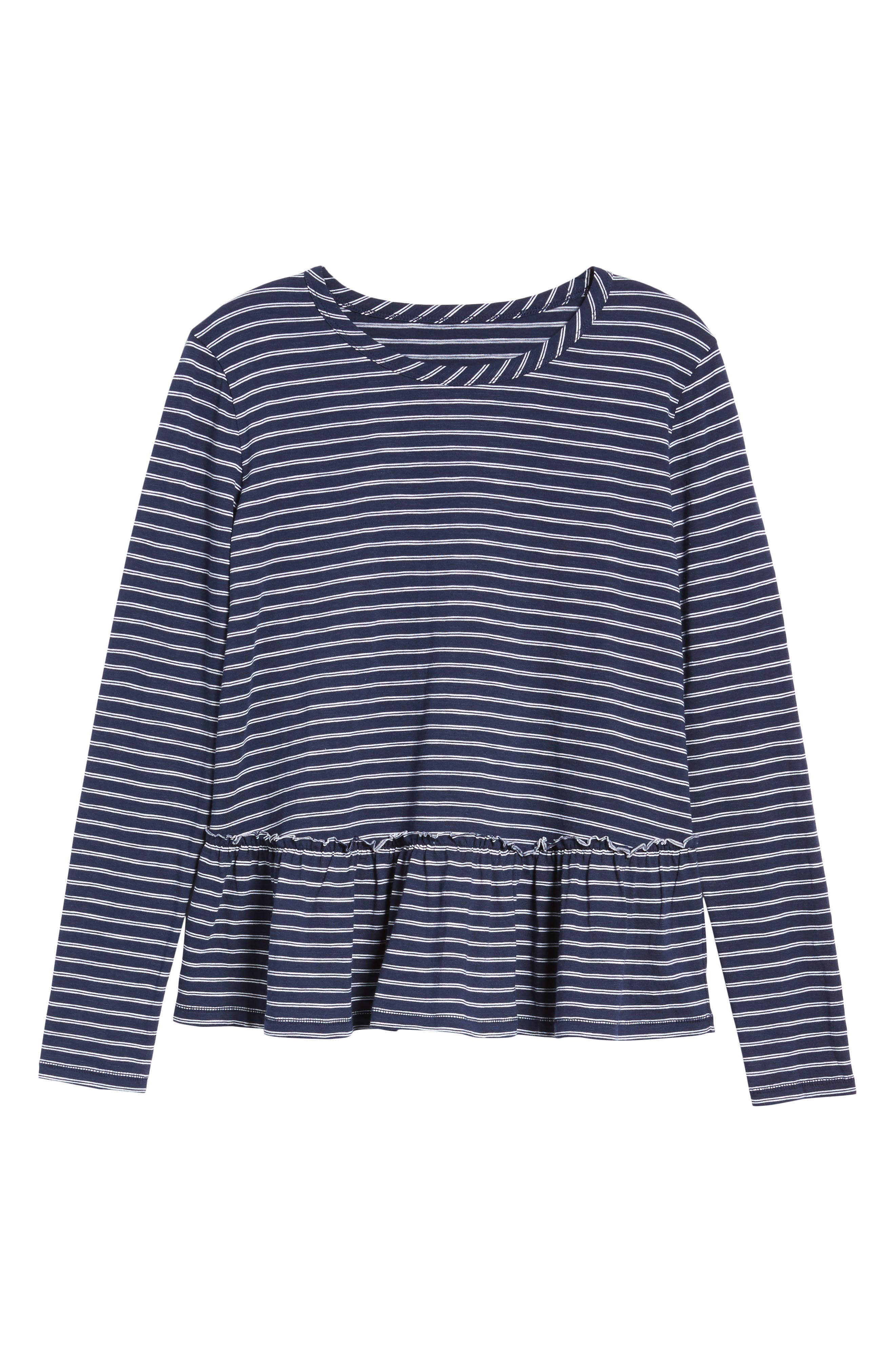 Peplum Tee,                             Alternate thumbnail 6, color,                             Navy- White Double Stripe