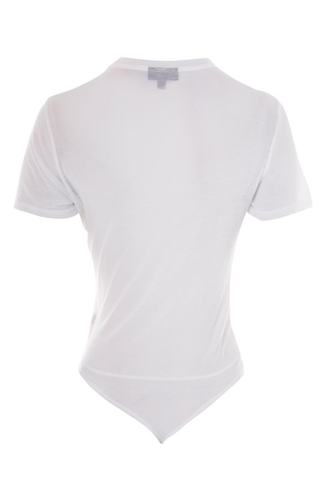 Alternate Image 5  - Topshop Sheer T-Shirt Bodysuit