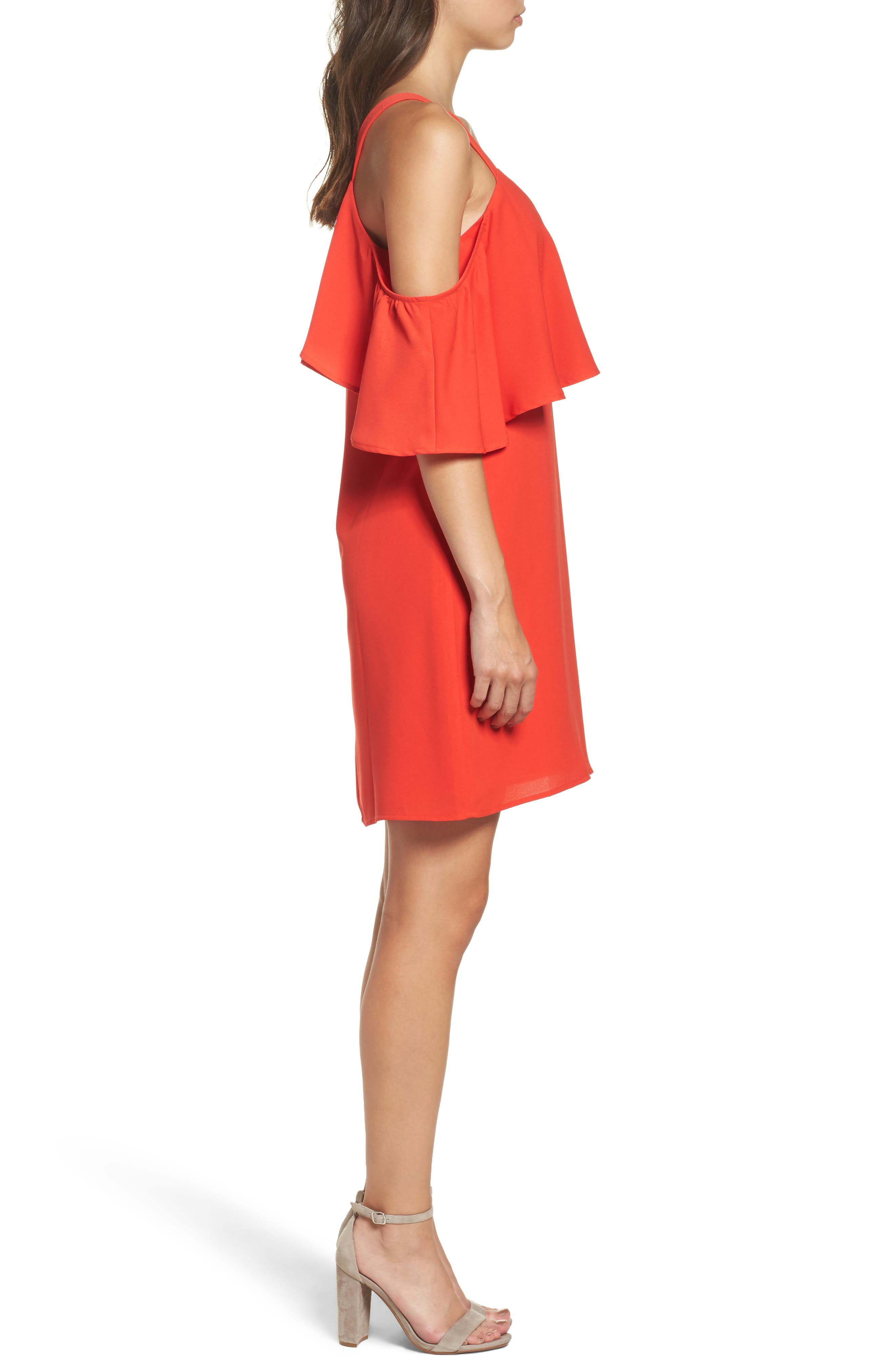 Crepe Cold Shoulder Dress,                             Alternate thumbnail 3, color,                             Coral Orange
