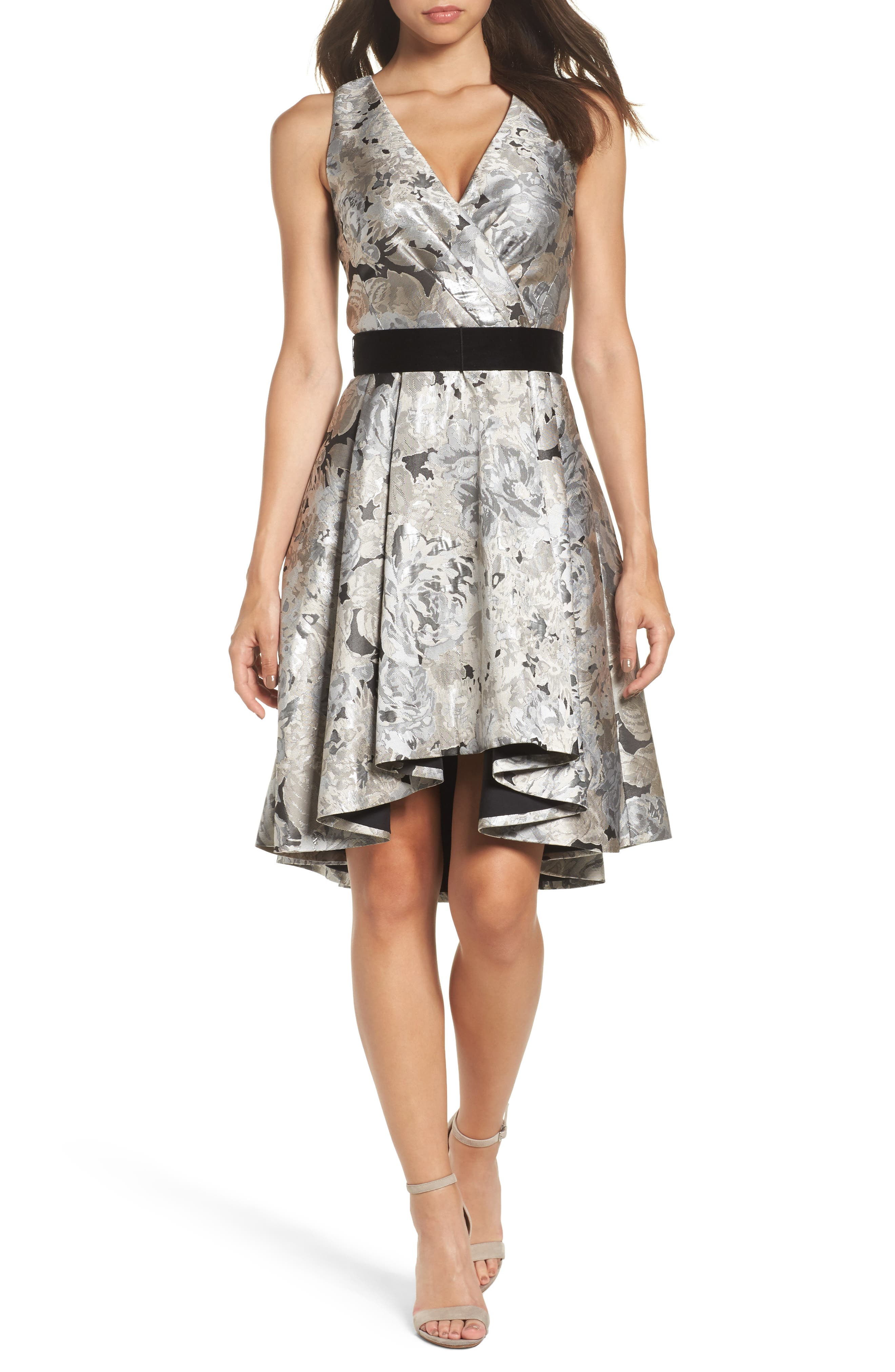 Alternate Image 1 Selected - Eliza J Jacquard High/Low Dress (Regular & Petite)