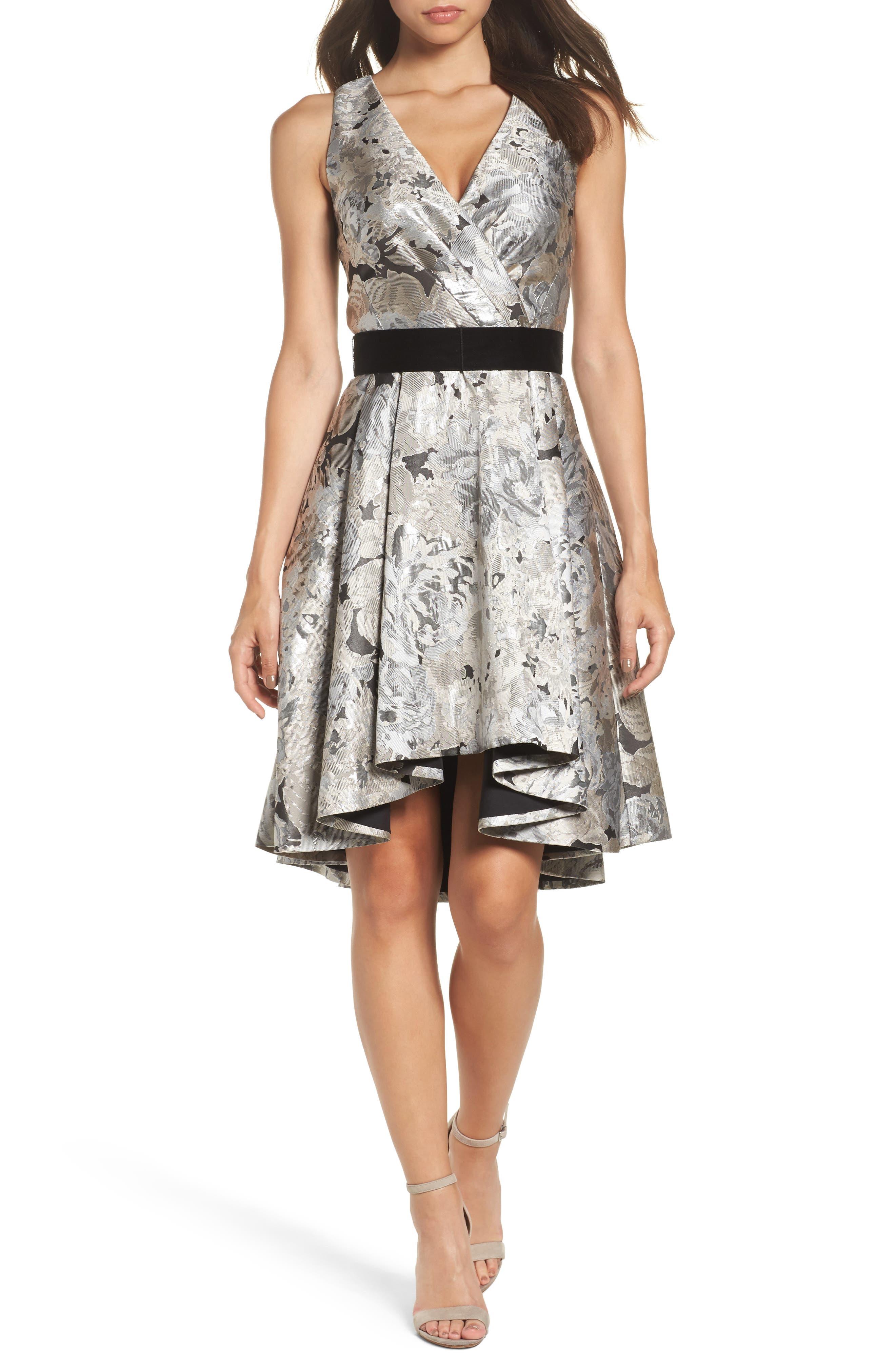 Jacquard High/Low Dress,                         Main,                         color, Slate/ Ivory