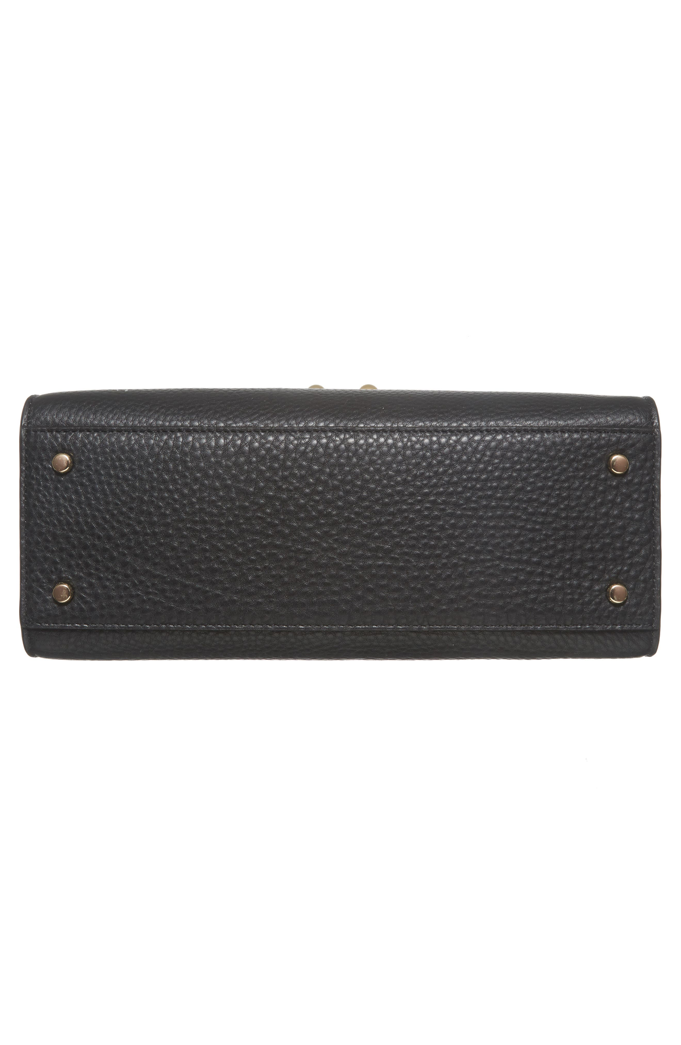 stewart street samira leather top handle satchel,                             Alternate thumbnail 5, color,                             Black