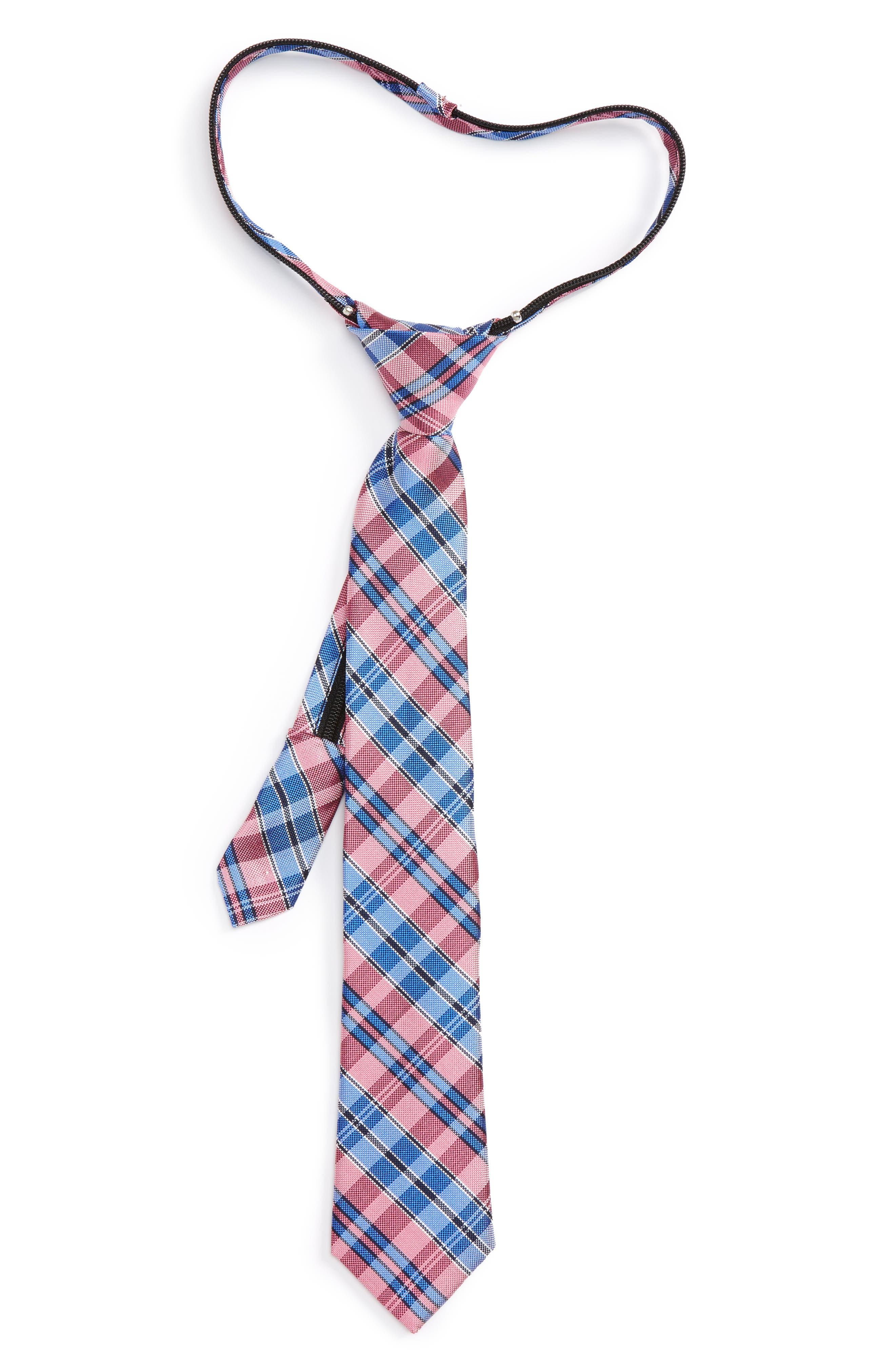 Nordstrom Plaid Silk Zip Tie (Big Boys)