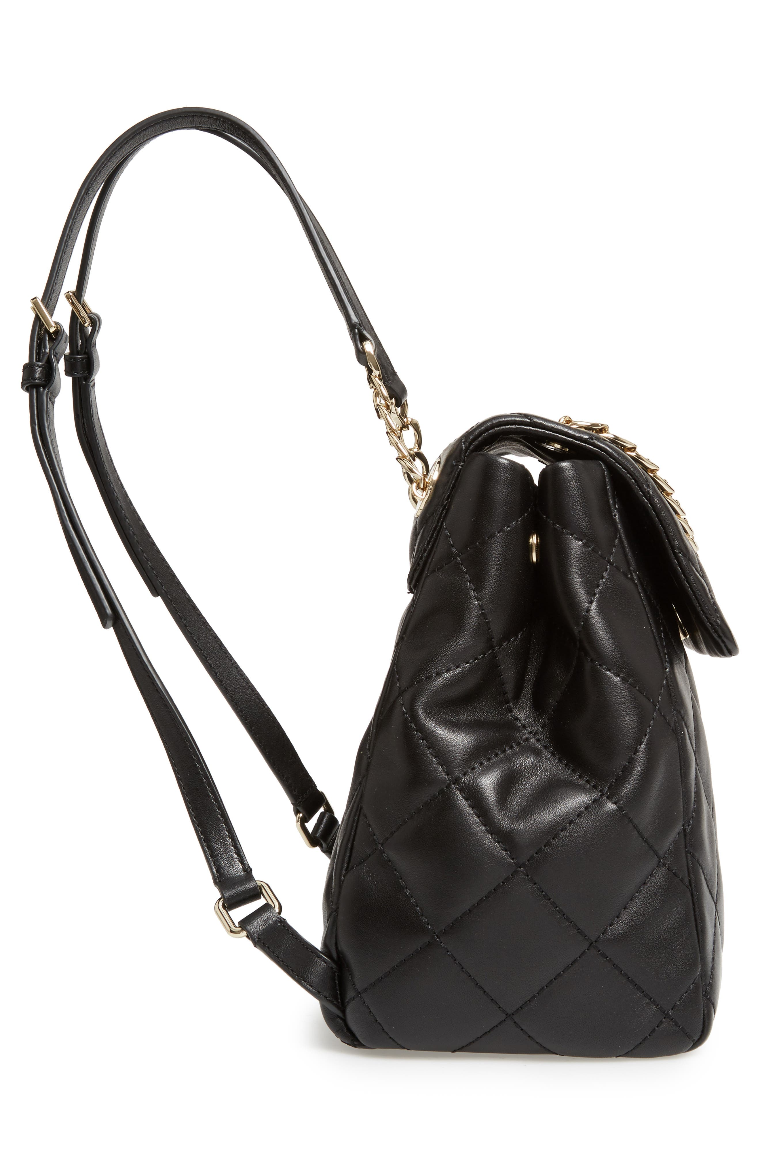 emerson place - martina quilted leather backpack,                             Alternate thumbnail 4, color,                             Black