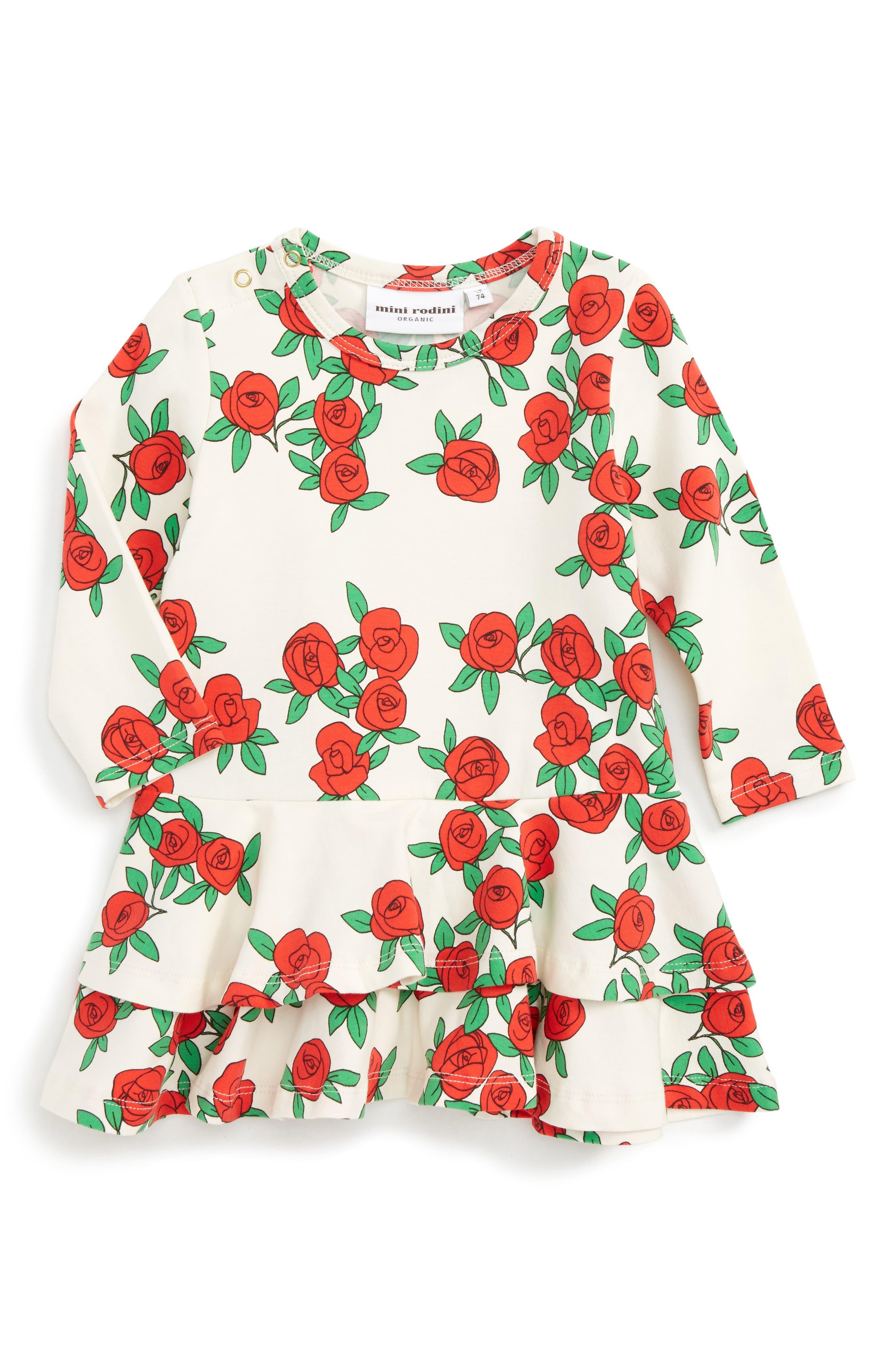 Mini Rodini Rose Tiered Drop Waist Dress (Baby Girls)