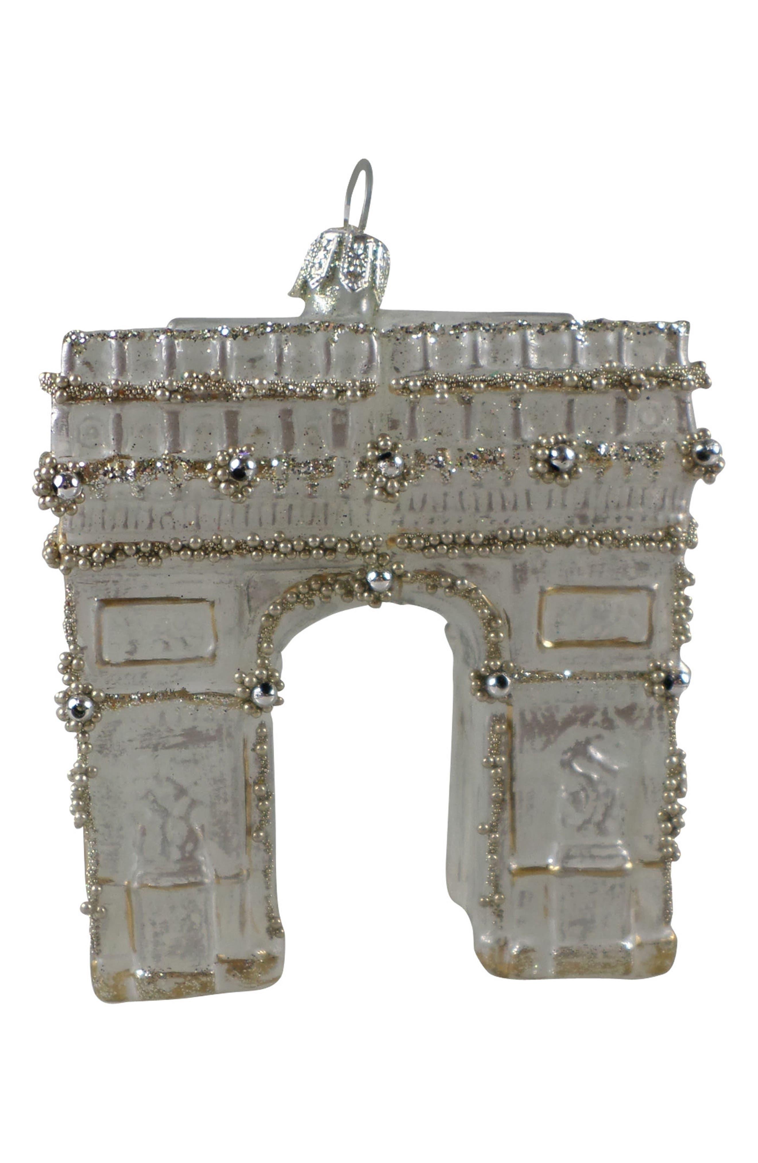 Handblown Glass Arc de Triomphe Ornament,                             Main thumbnail 1, color,                             Gold