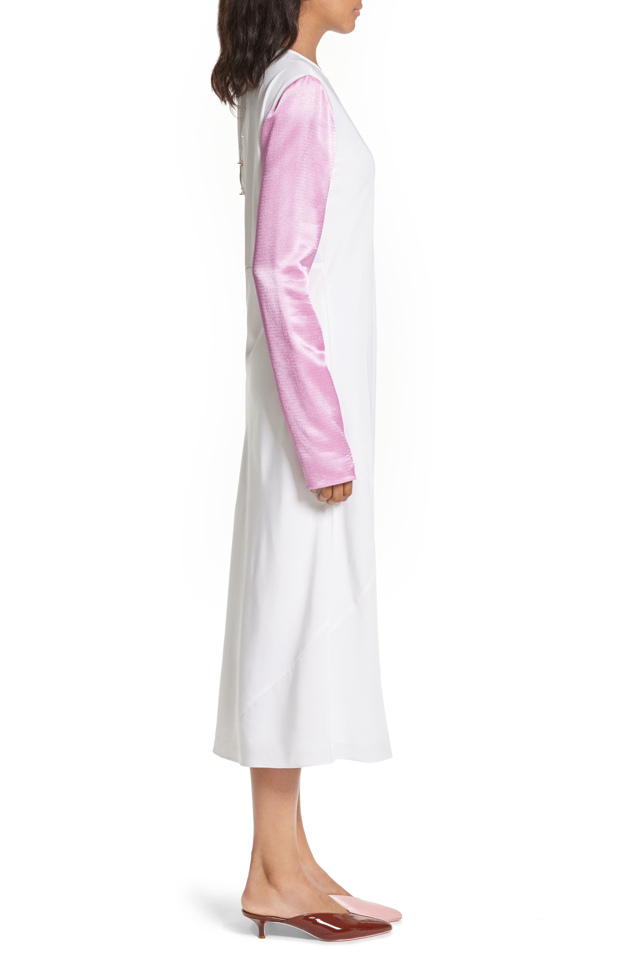 Colorblock Silk Sleeve Dress,                             Alternate thumbnail 3, color,                             White Multi