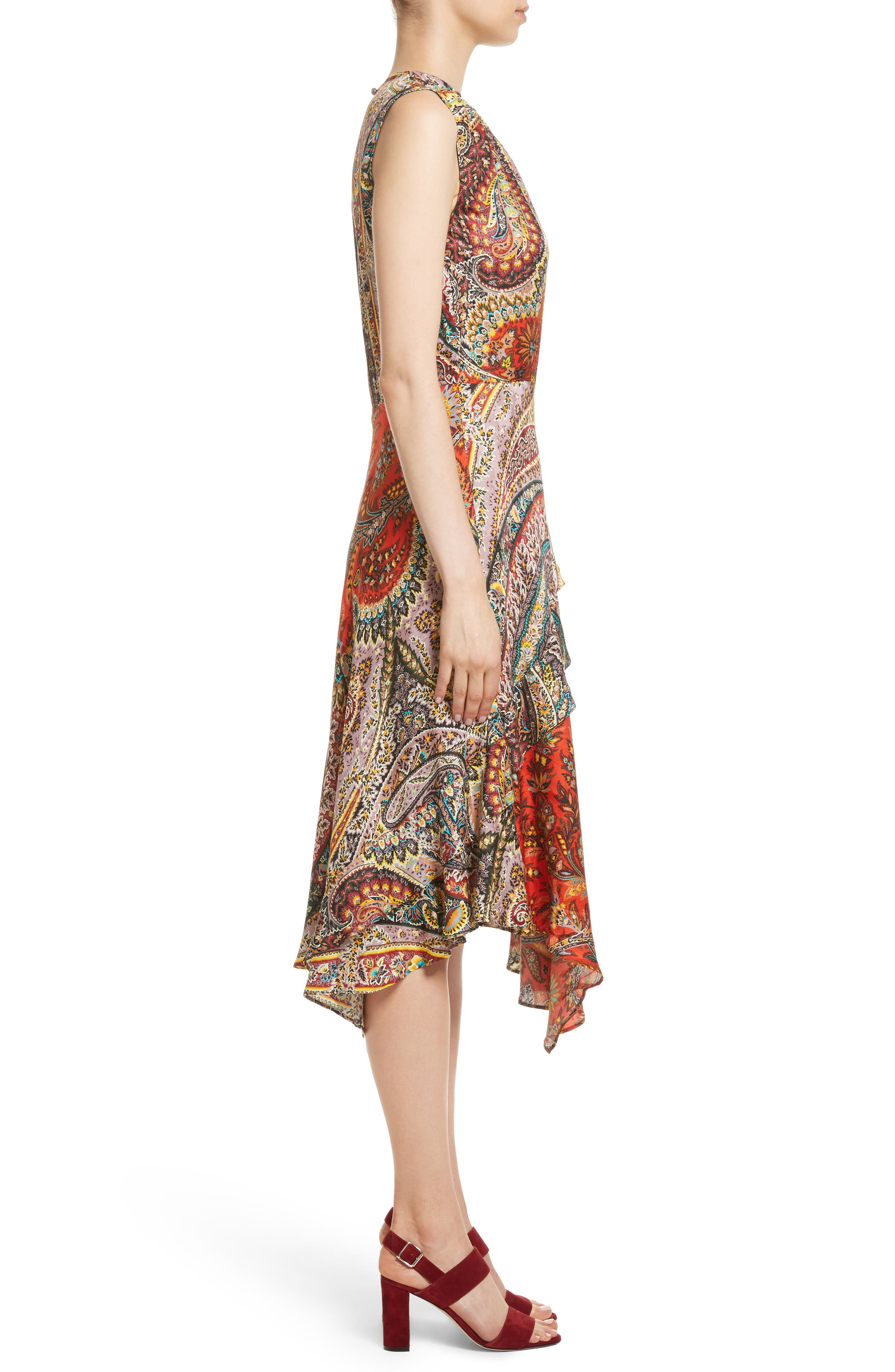 Paisley Print Asymmetrical Dress,                             Alternate thumbnail 3, color,                             Red