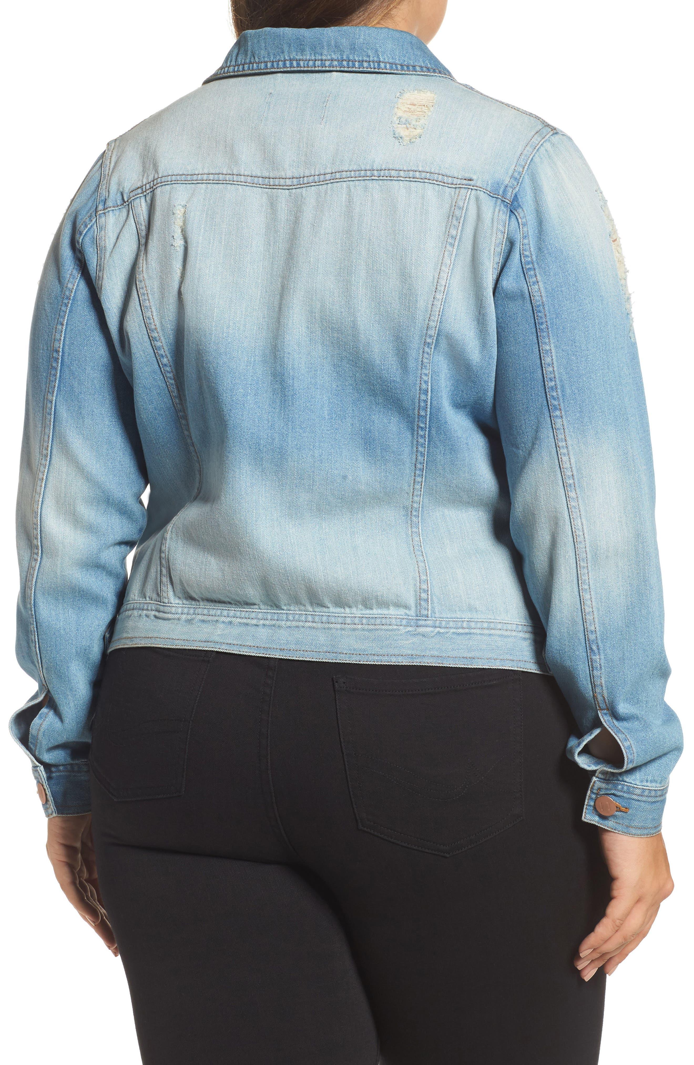 Alternate Image 2  - JUNAROSE Mikara Denim Jacket (Plus Size)