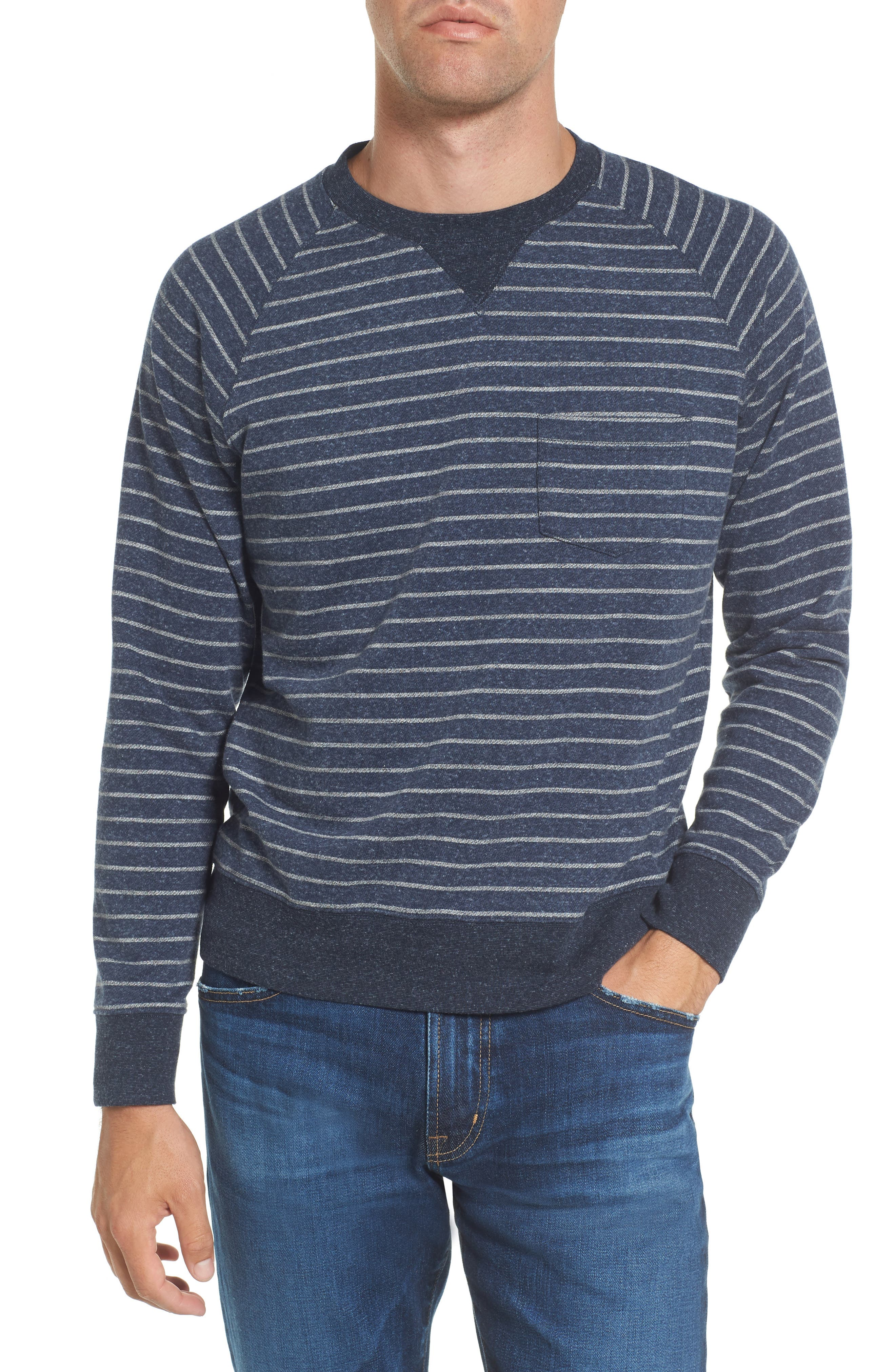Palmer Modern Fit Athletic Stripe Sweatshirt,                         Main,                         color, Navy/ Gray Heather