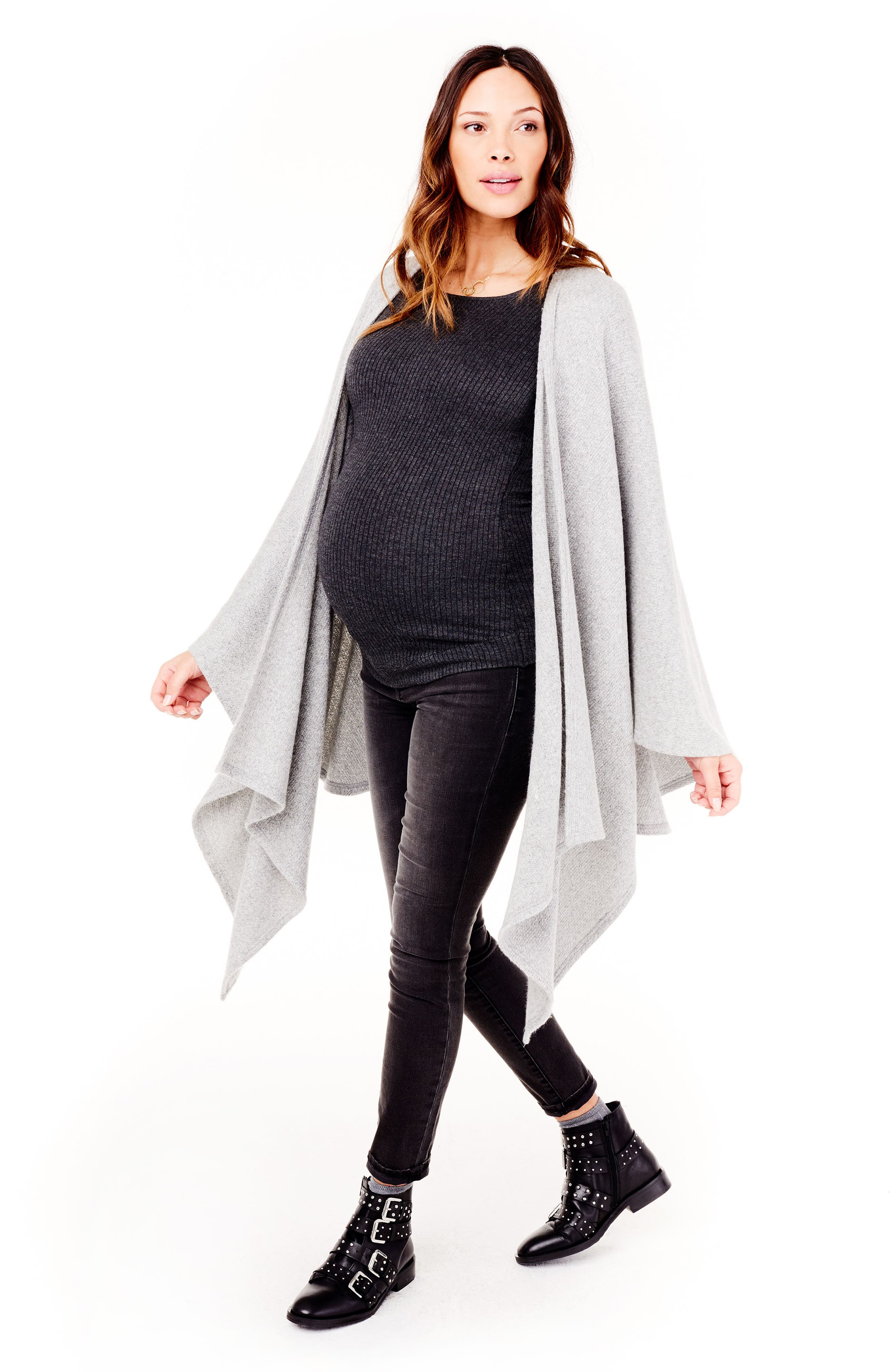 Cozy Maternity/Nursing Wrap,                             Alternate thumbnail 4, color,                             Heather Grey