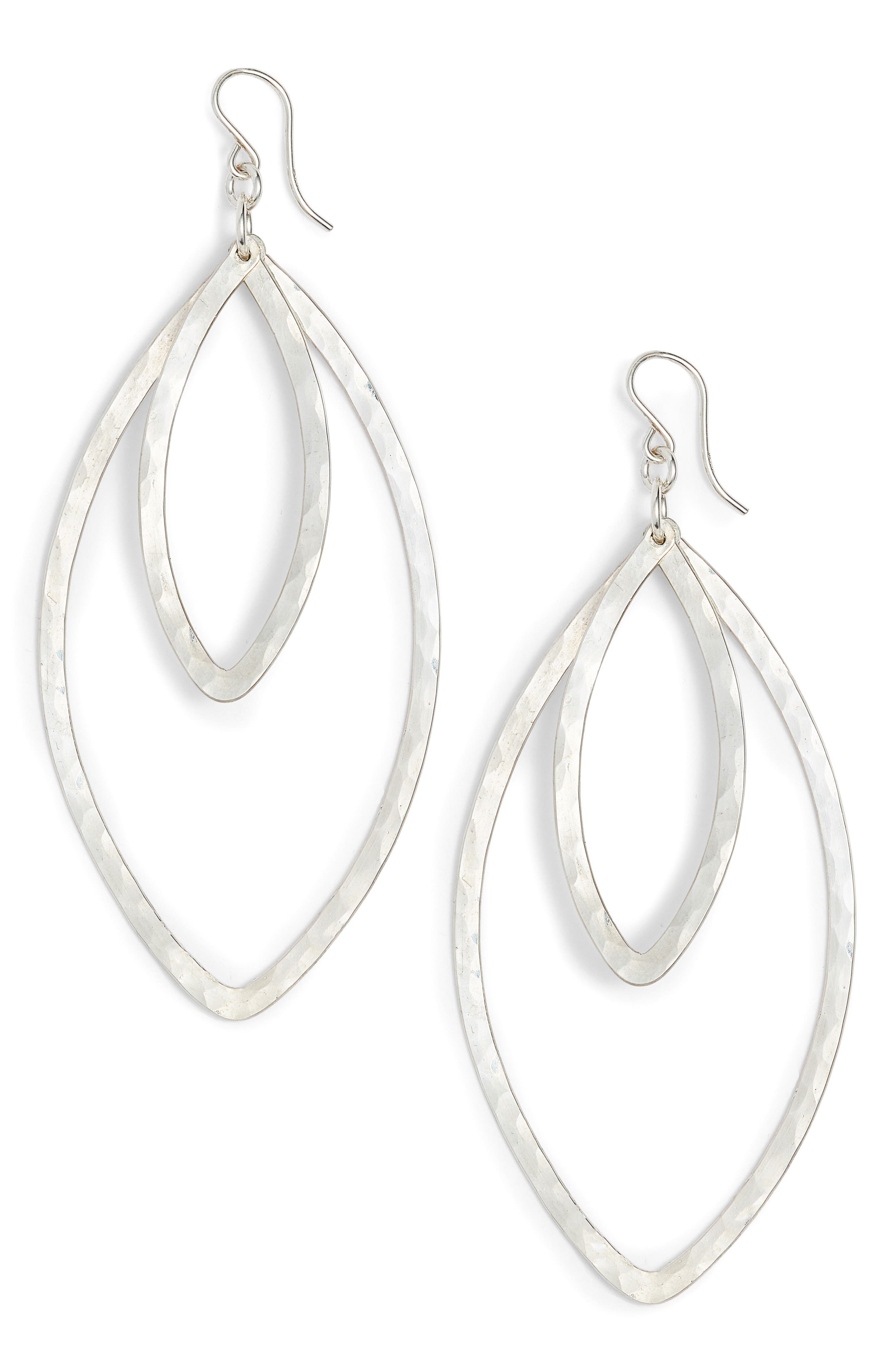 Double Marquise Drop Earrings,                             Main thumbnail 1, color,                             Silver