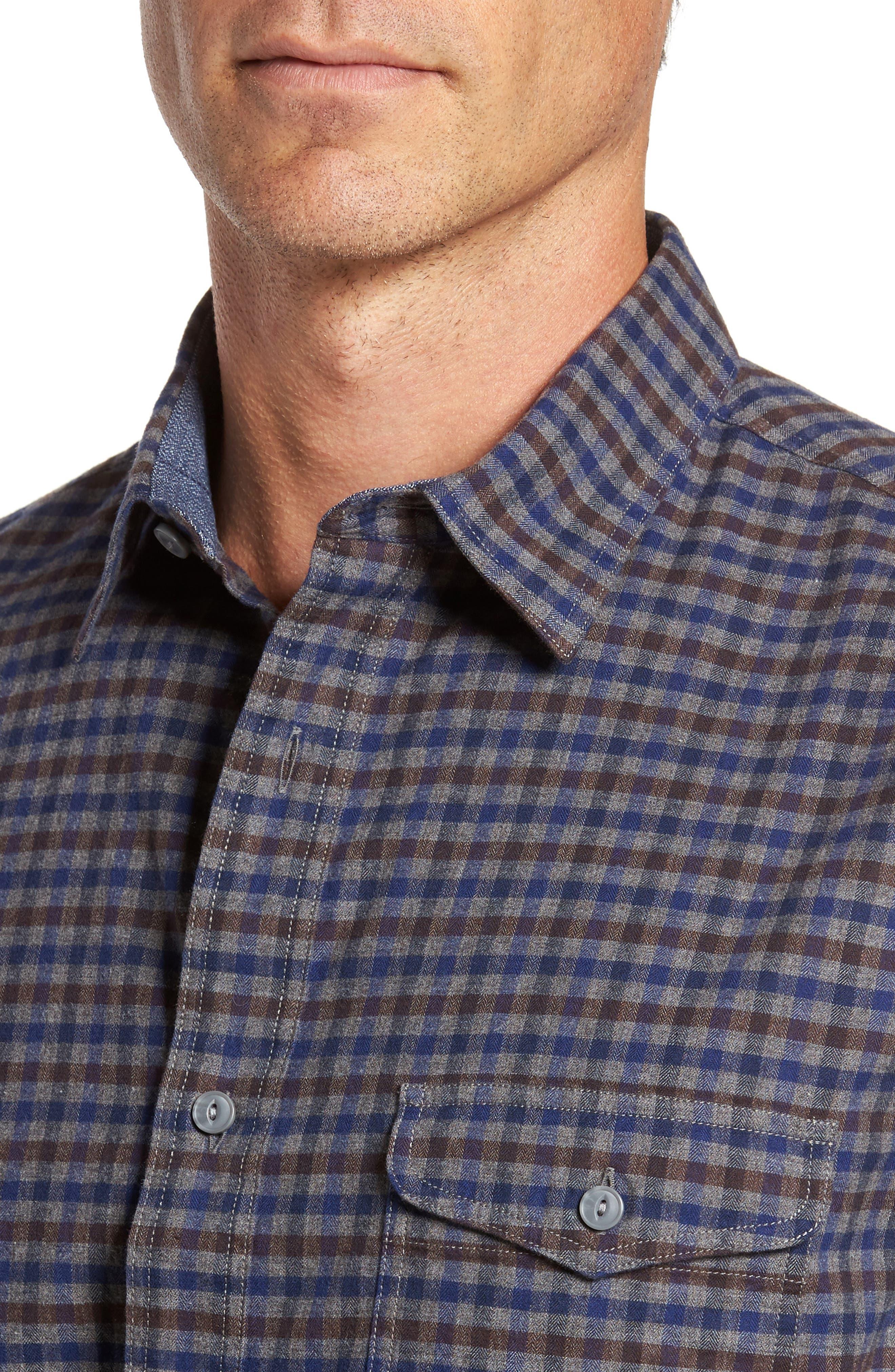 Alternate Image 4  - Nordstrom Men's Shop Regular Fit Lumber Check Flannel Shirt