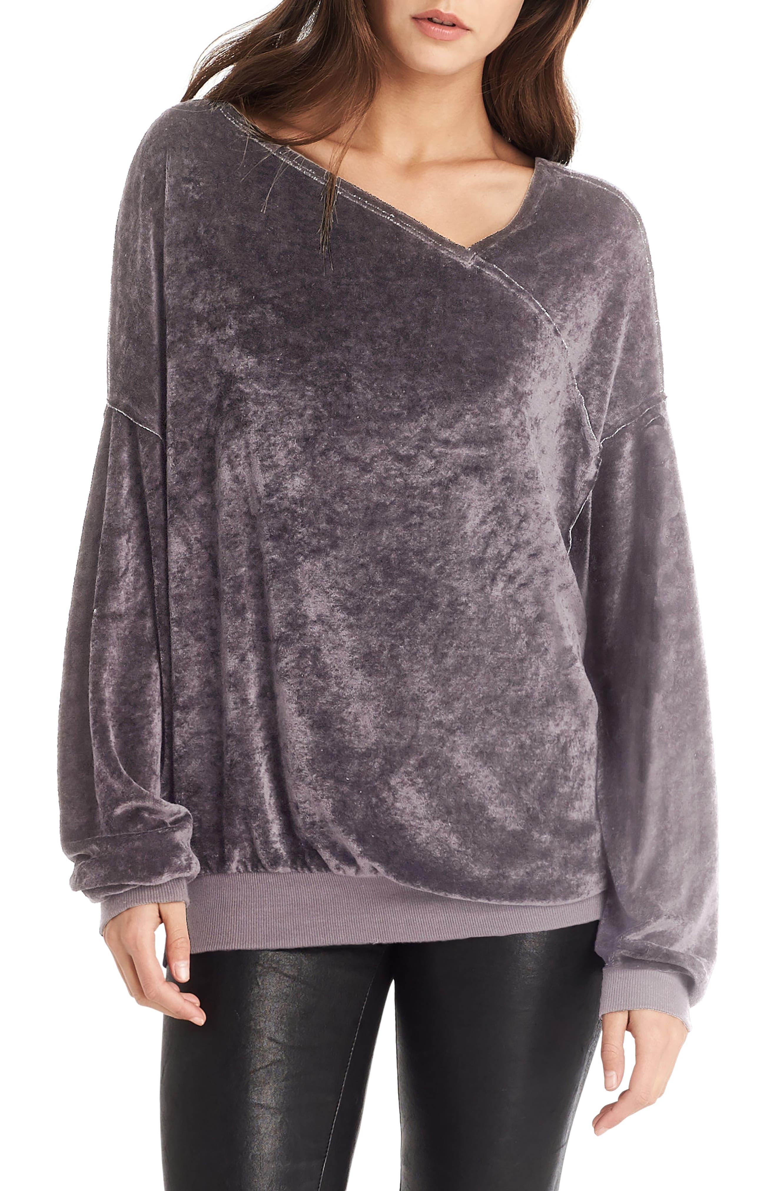Asymmetrical Neck Velvet Pullover,                             Main thumbnail 1, color,                             Galvanized