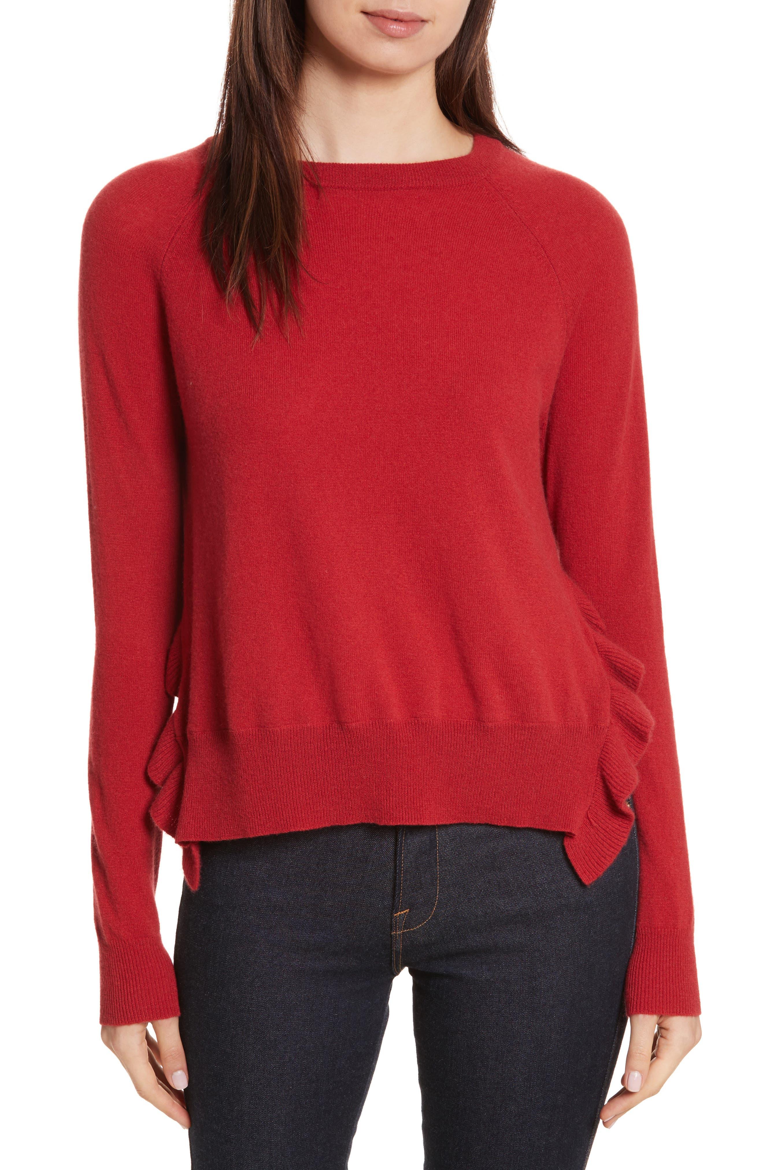Cashmere Side Ruffle Sweater,                         Main,                         color, Gazpacho