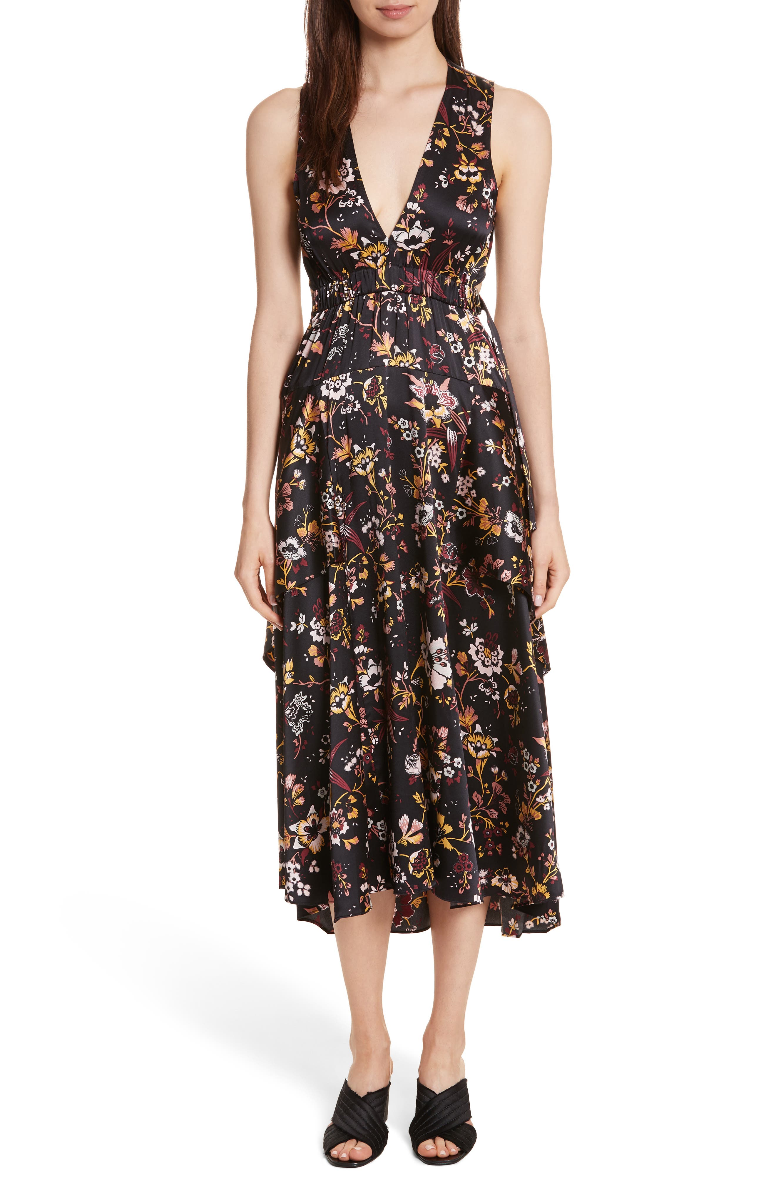 Verbena Floral Print Stretch Silk Dress,                             Main thumbnail 1, color,                             Black/ Grey/ Mustard