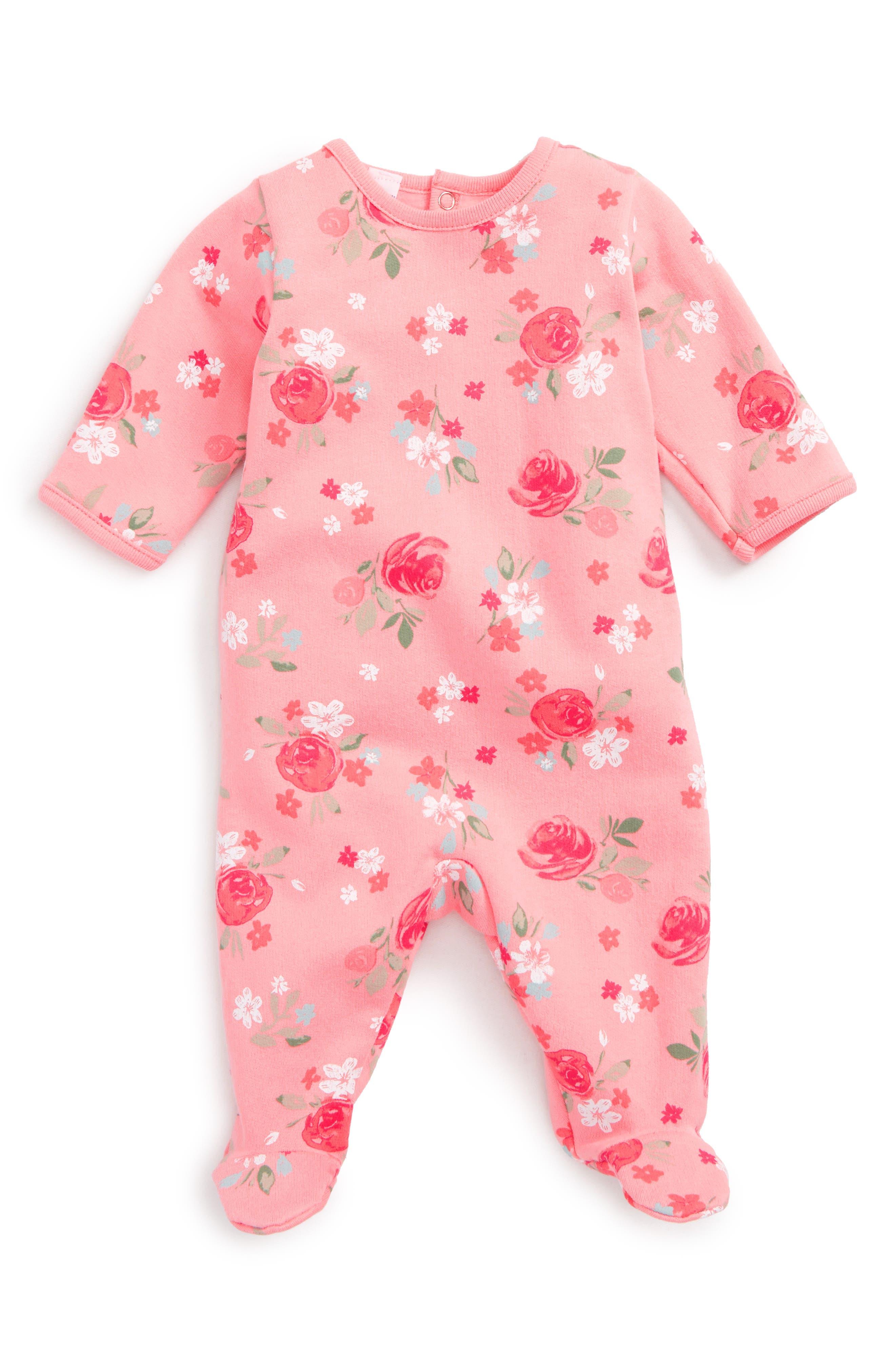 Petit Bateau Floral Print Footie (Baby Girls)