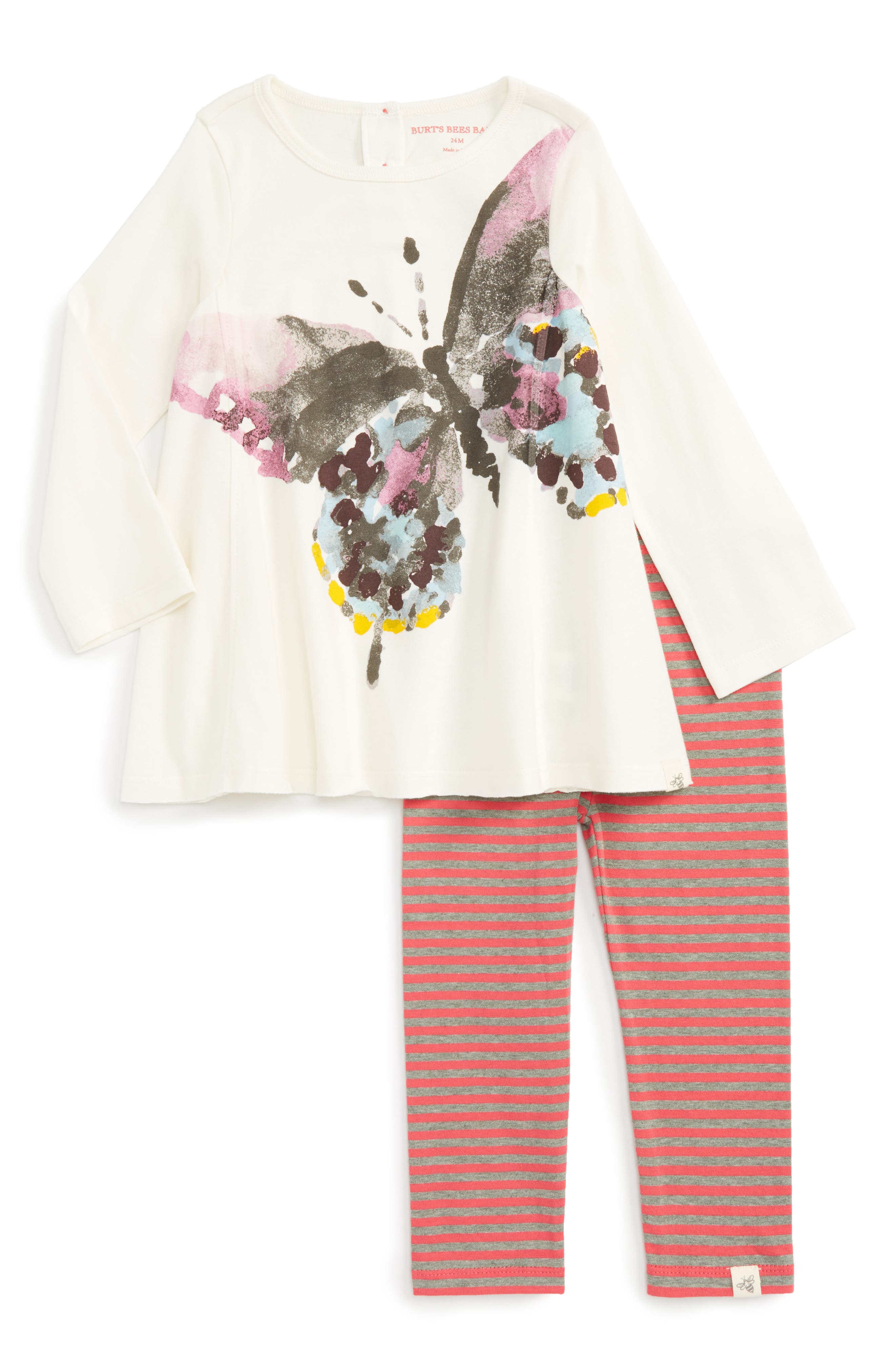 Alternate Image 1 Selected - Burt's Bees Baby Woodland Butterfly Tunic & Leggings Set (Baby Girls)