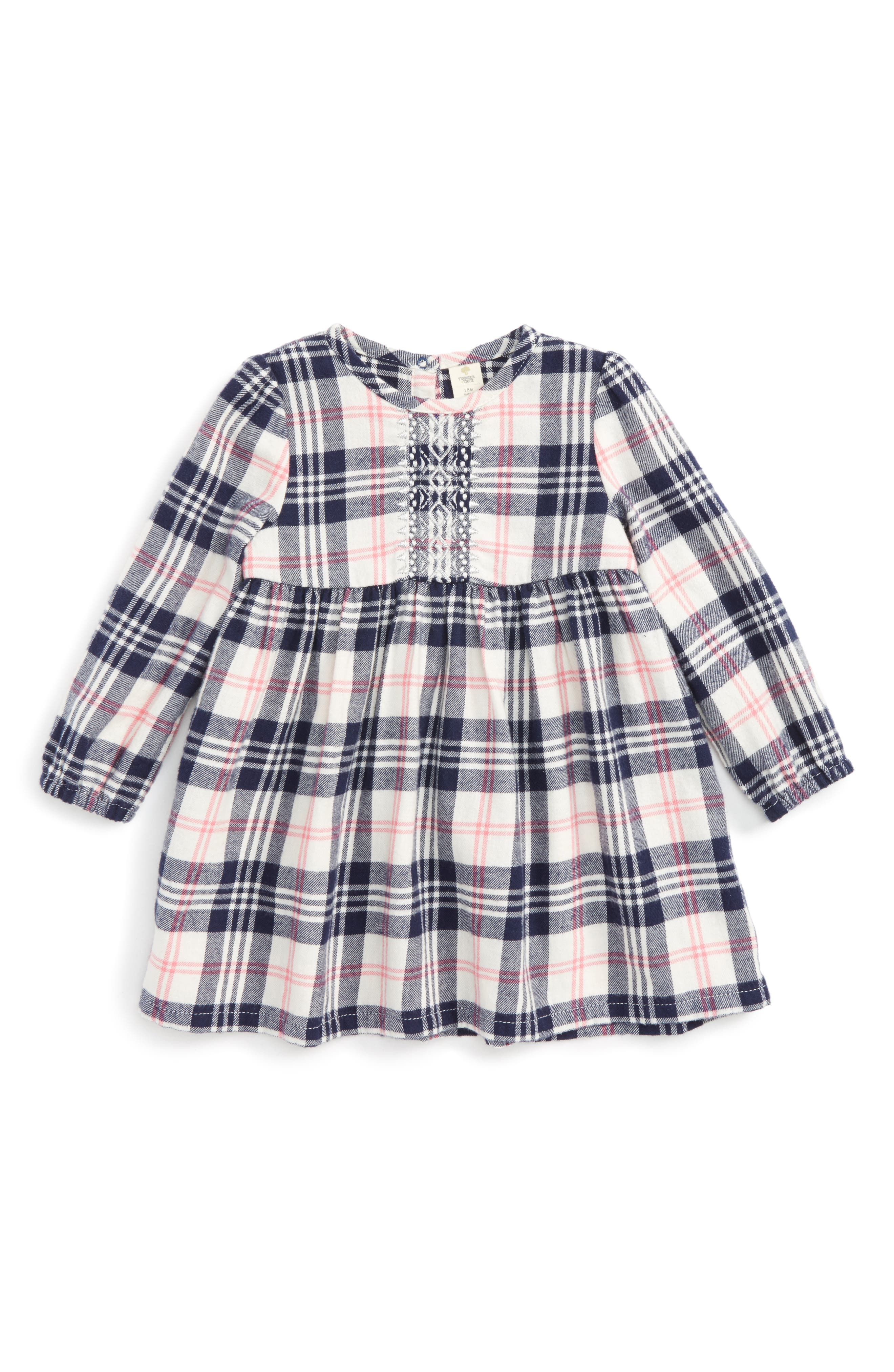 Tucker + Tate Embroidered Plaid Flannel Dress (Baby Girls)