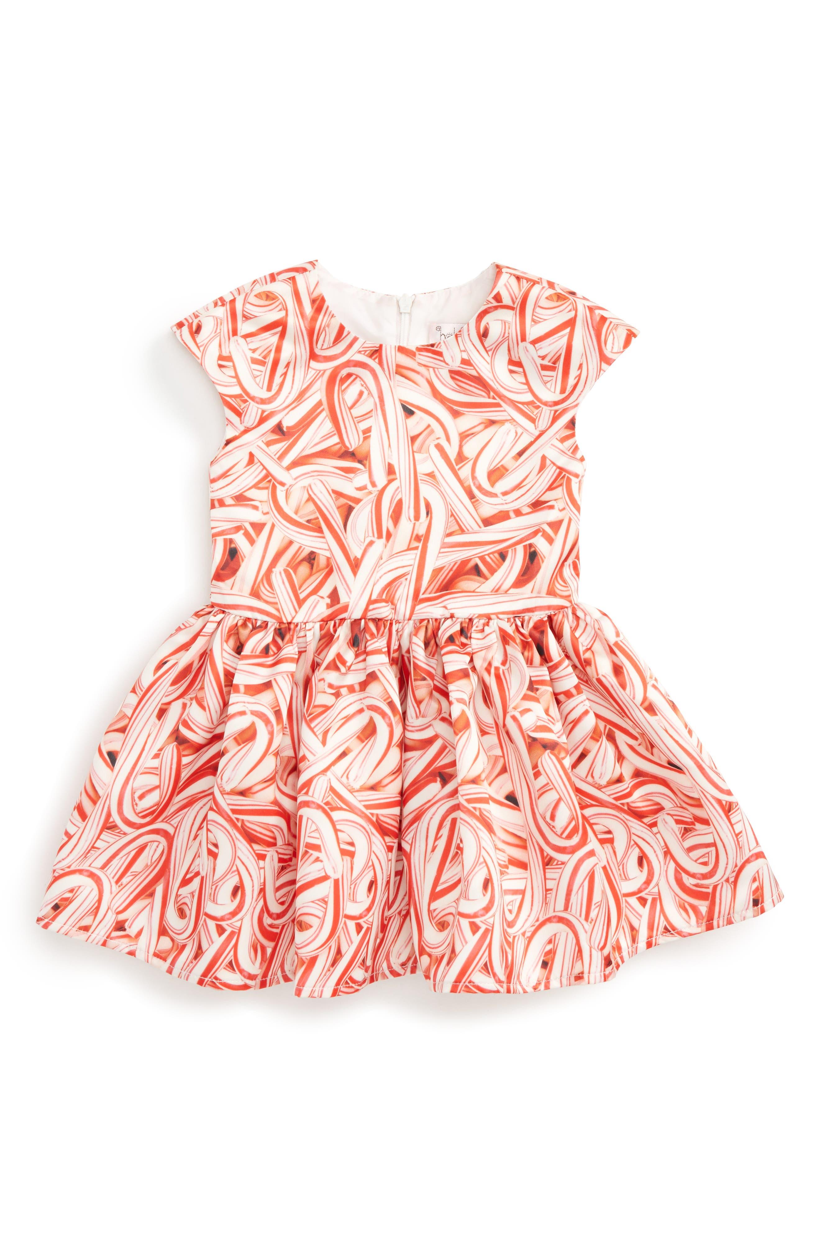 Alternate Image 1 Selected - Halabaloo Candy Cane Print Dress (Baby Girls)