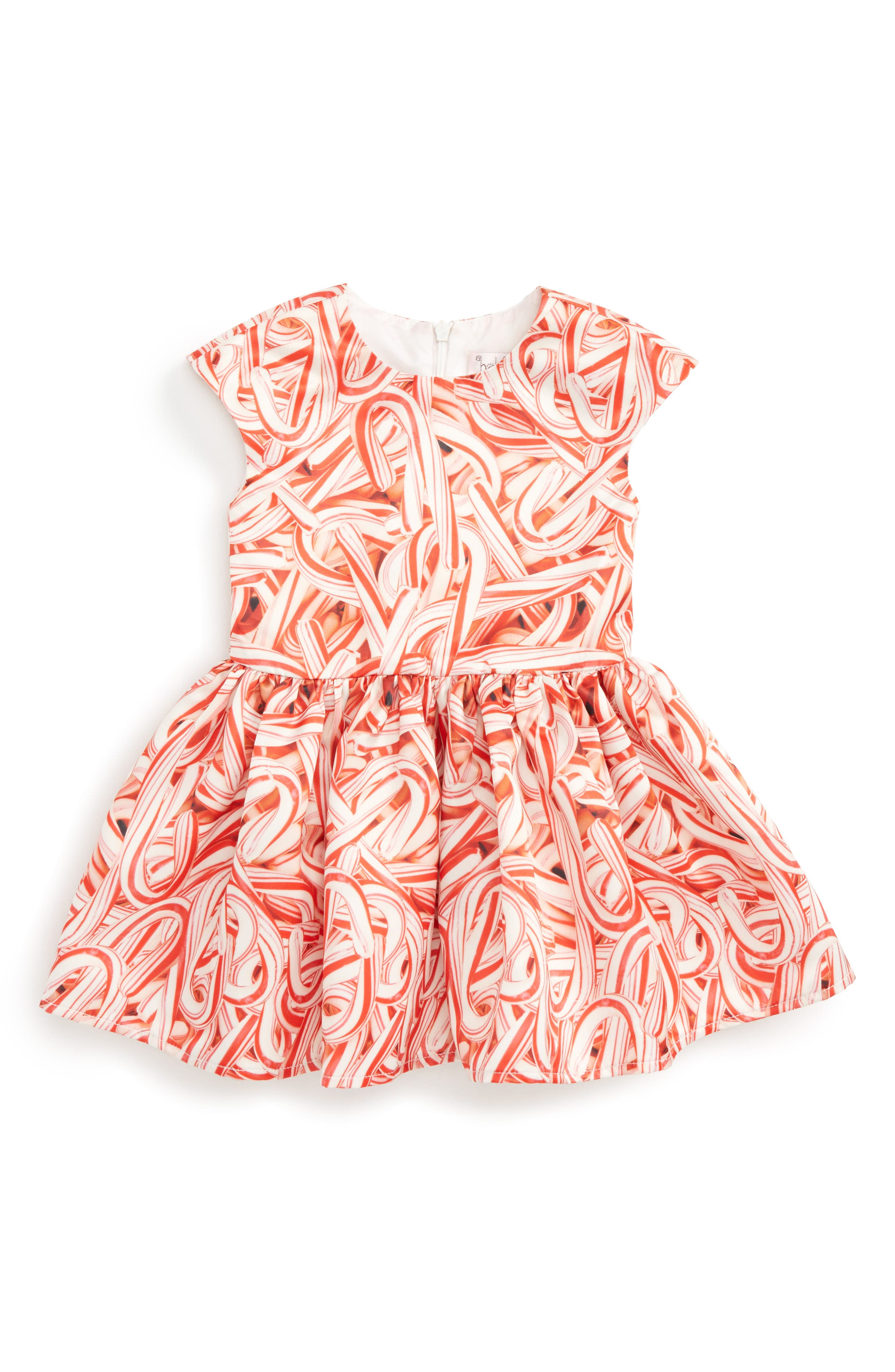 Candy Cane Print Dress,                         Main,                         color, Red