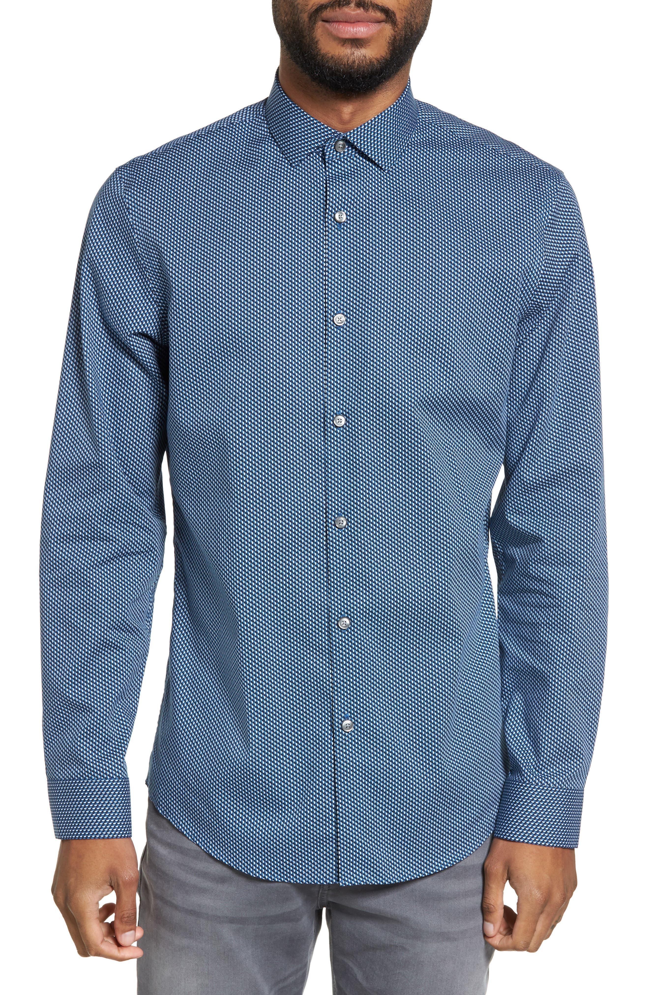 Print Sport Shirt,                         Main,                         color, Blue Ice Navy Geo Print