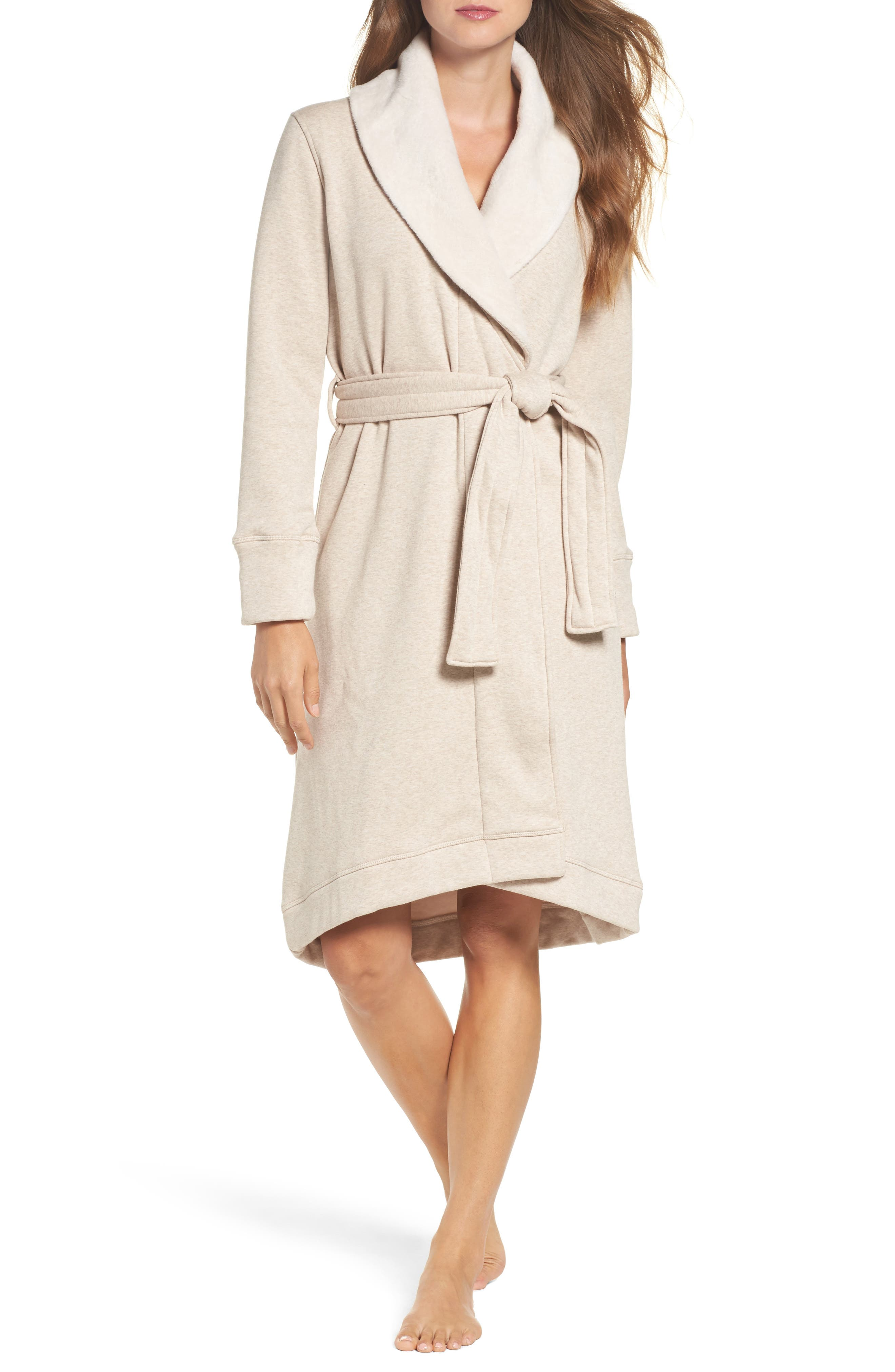 Duffield Double Knit Robe,                             Main thumbnail 1, color,                             Oatmeal Heather