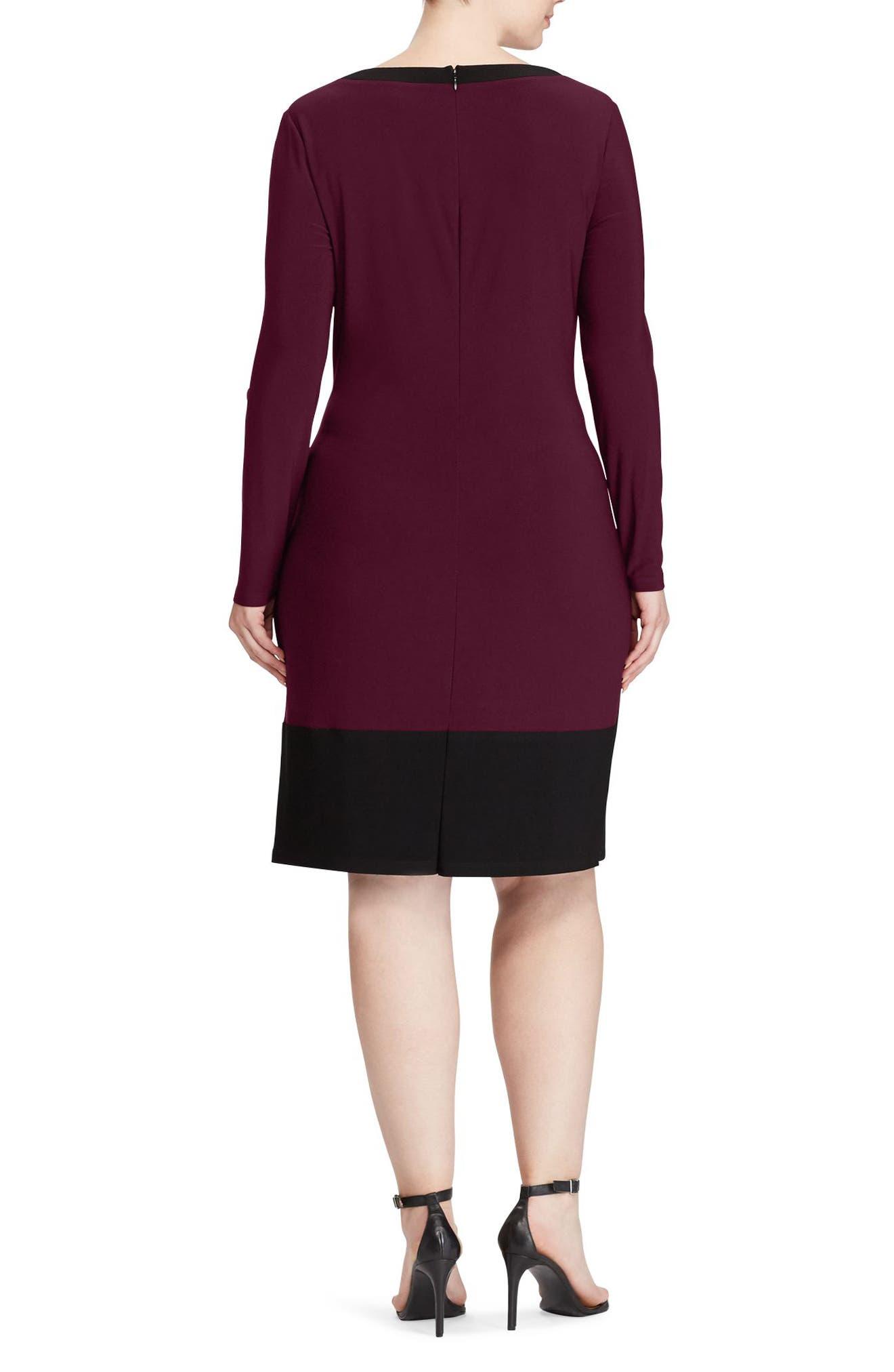 Colorblock Sheath Dress,                             Alternate thumbnail 2, color,                             Rioja-Black