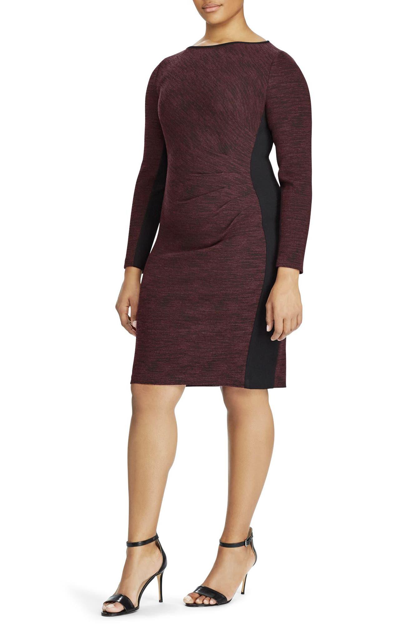 Colorblock Sheath Dress,                         Main,                         color, Black-Rioja