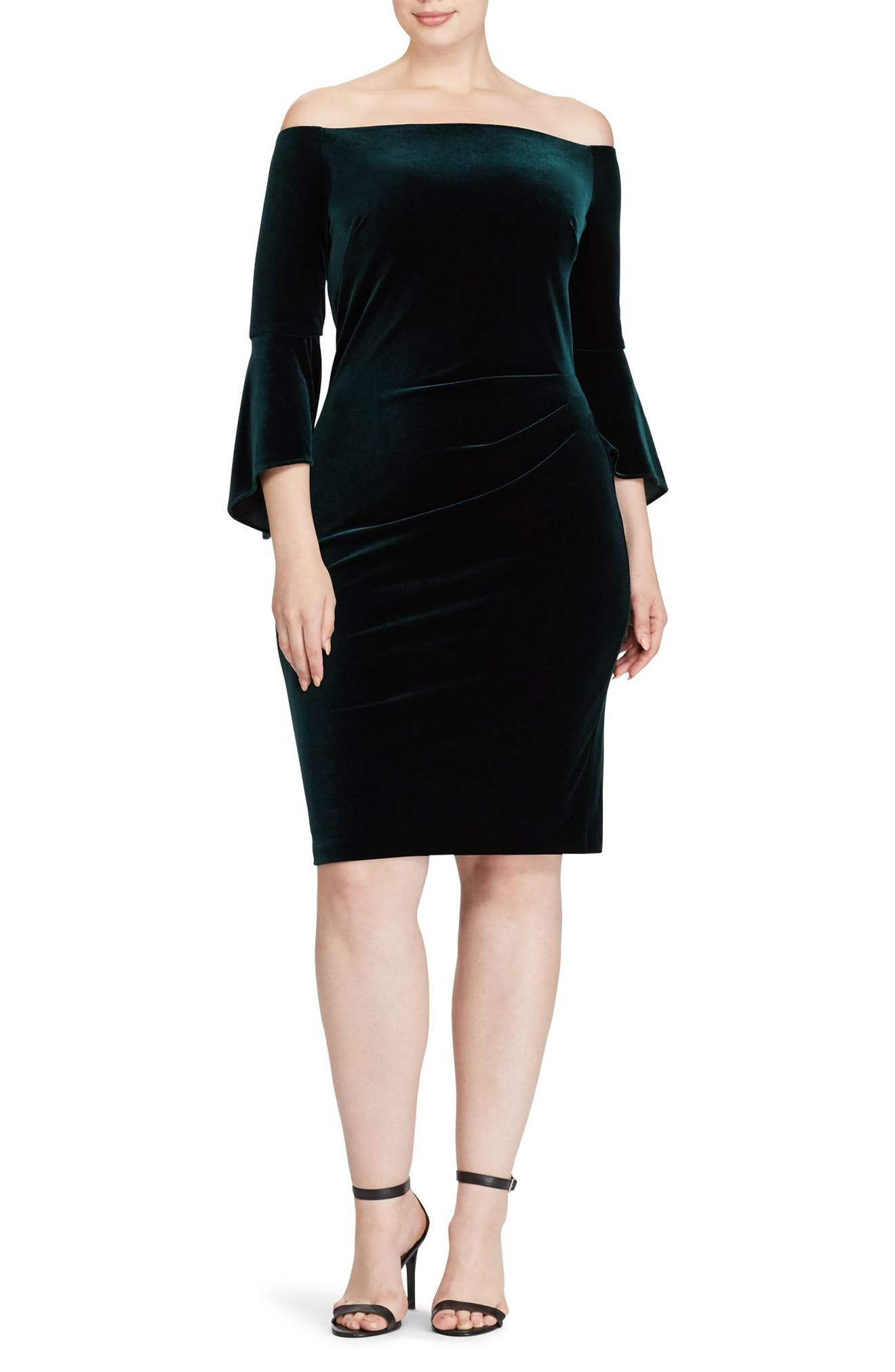 Lauren Ralph Lauren Stretch Velvet Sheath Dress (Plus Size)
