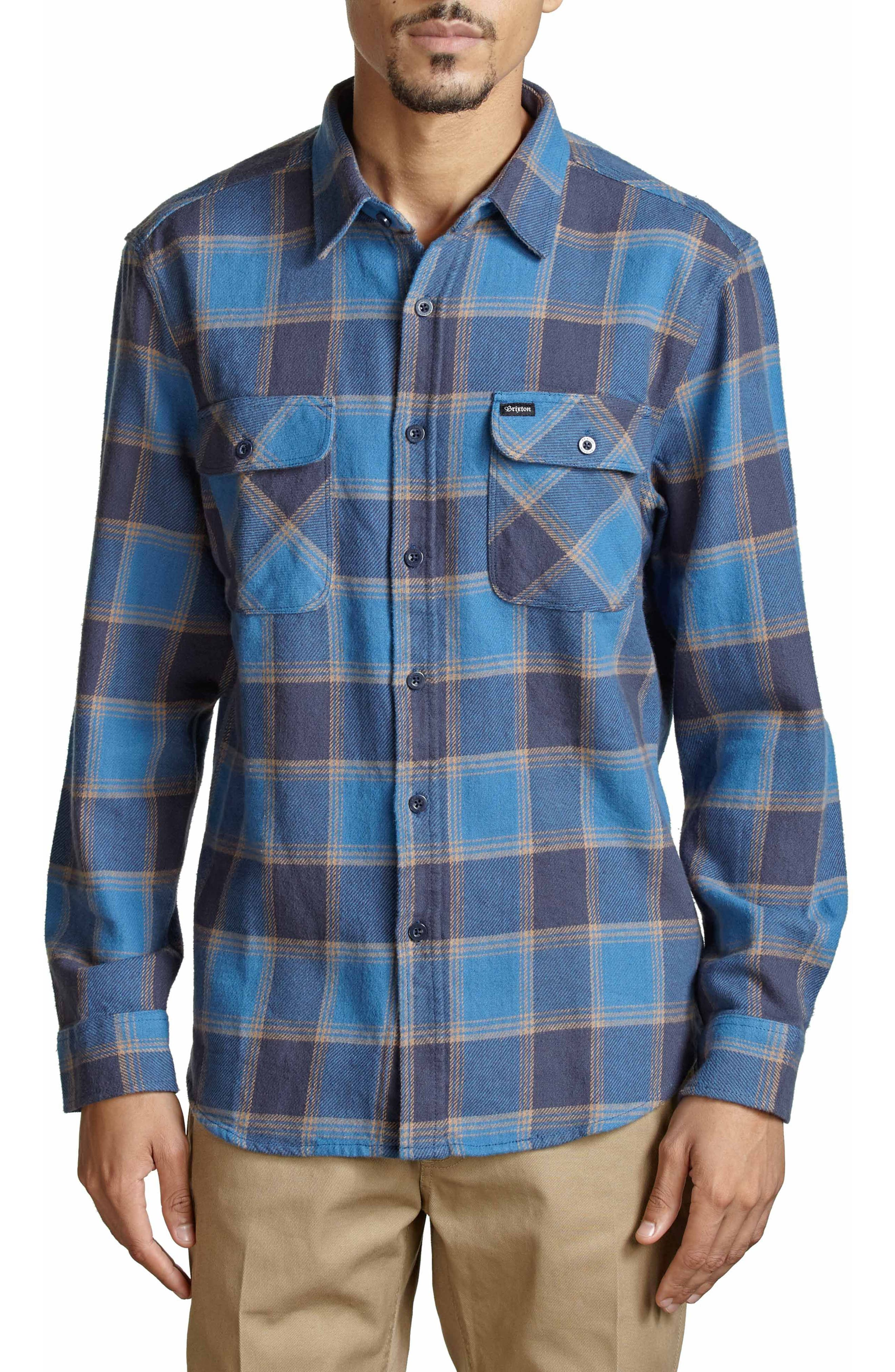 Bowery Flannel Shirt,                         Main,                         color, Blue/ Navy